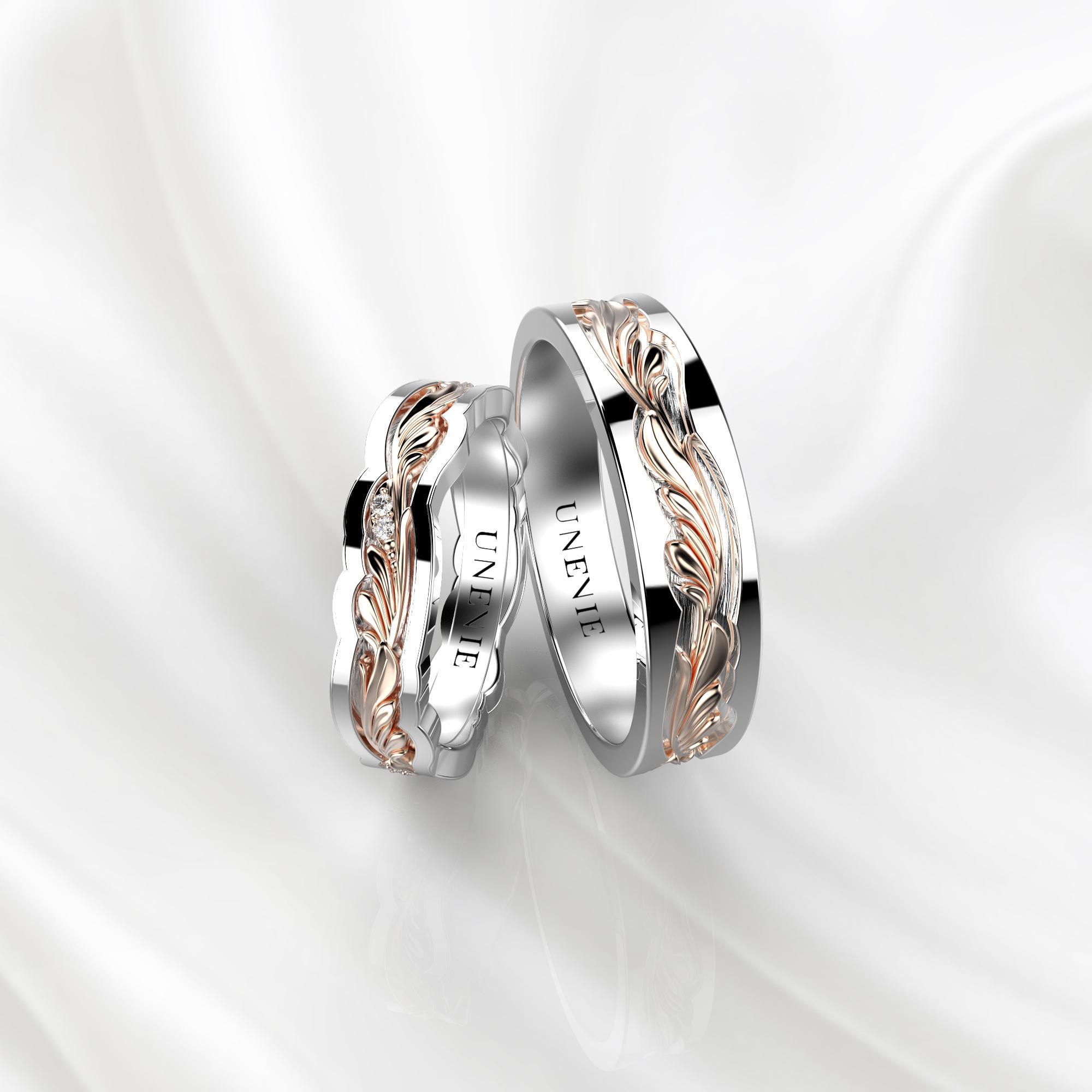 NV44 Парные обручальные кольца из бело-розового золота с бриллиантами
