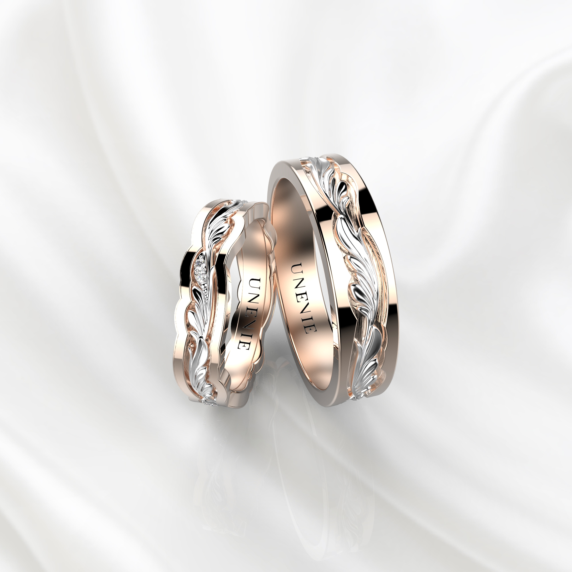 NV44 Парные обручальные кольца из розово-белого золота с бриллиантами