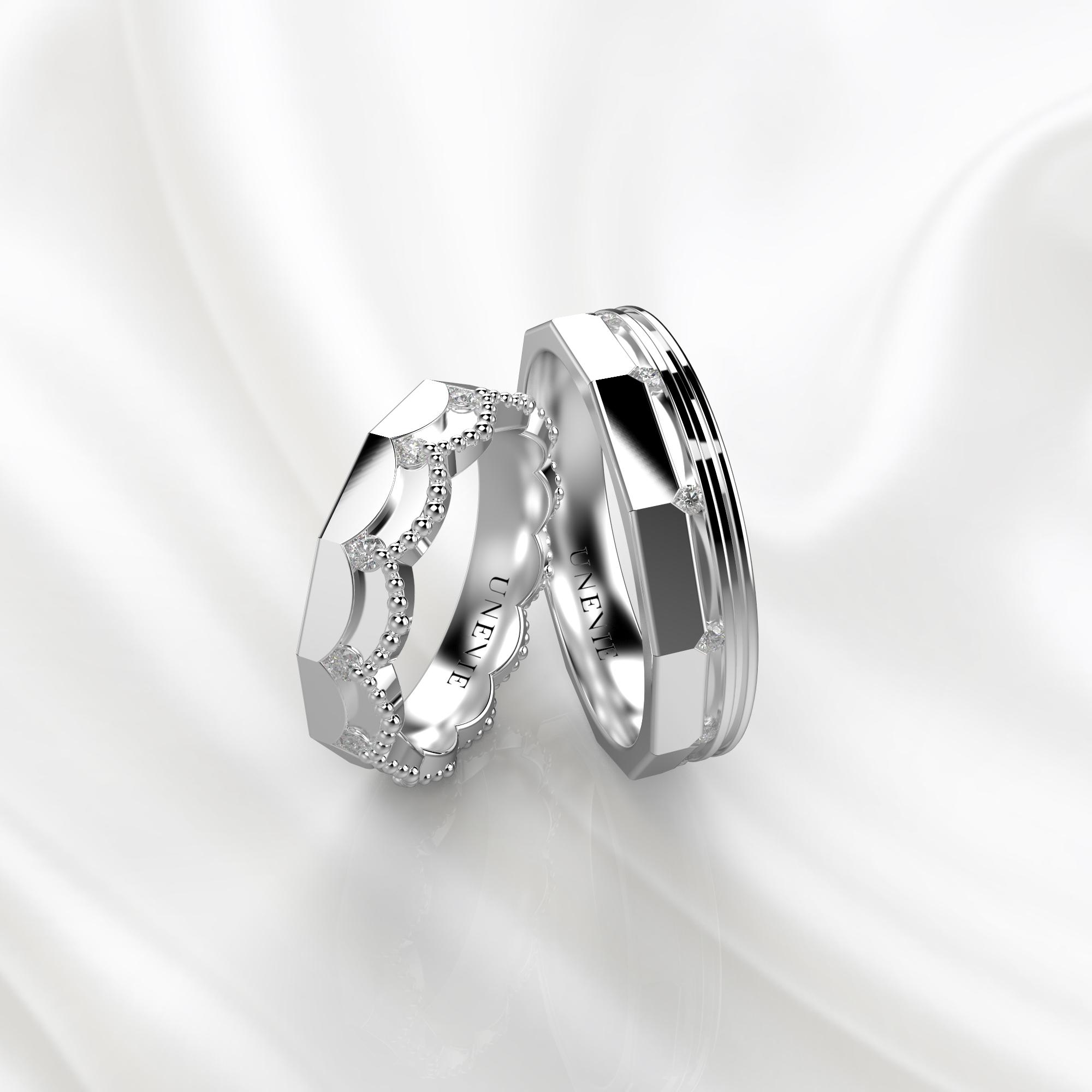 NV45 Парные обручальные кольца из белого золота с бриллиантами