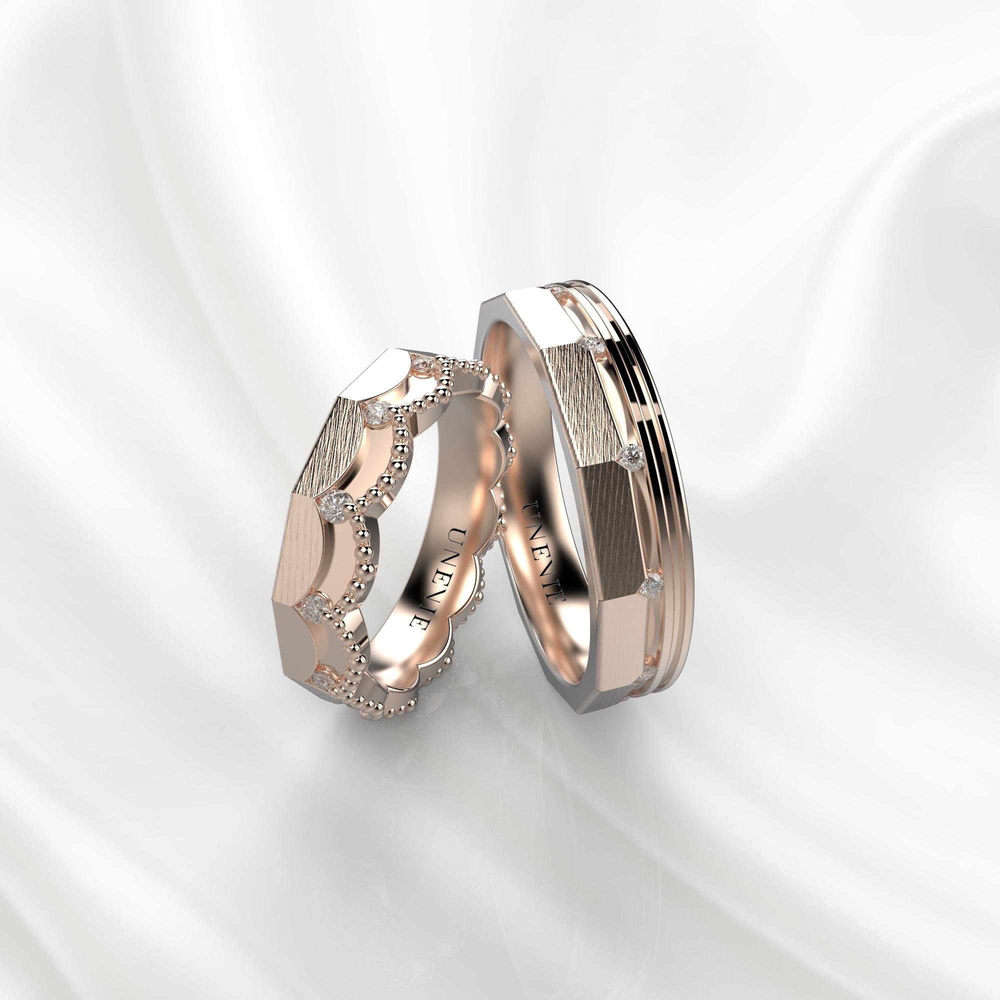 NV45 Парные обручальные кольца из розового золота с бриллиантами
