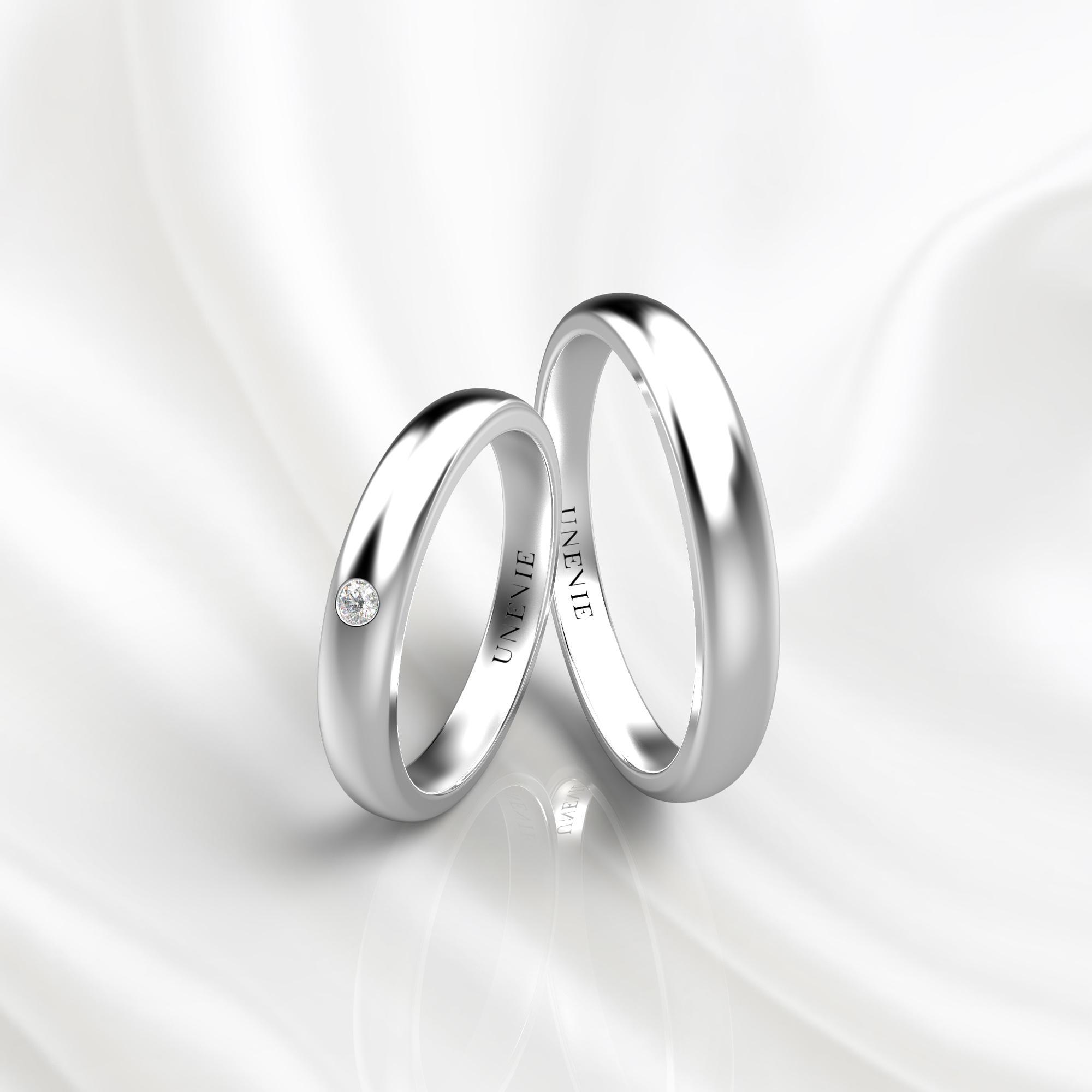 NV46 Парные обручальные кольца из белого золота с бриллиантом