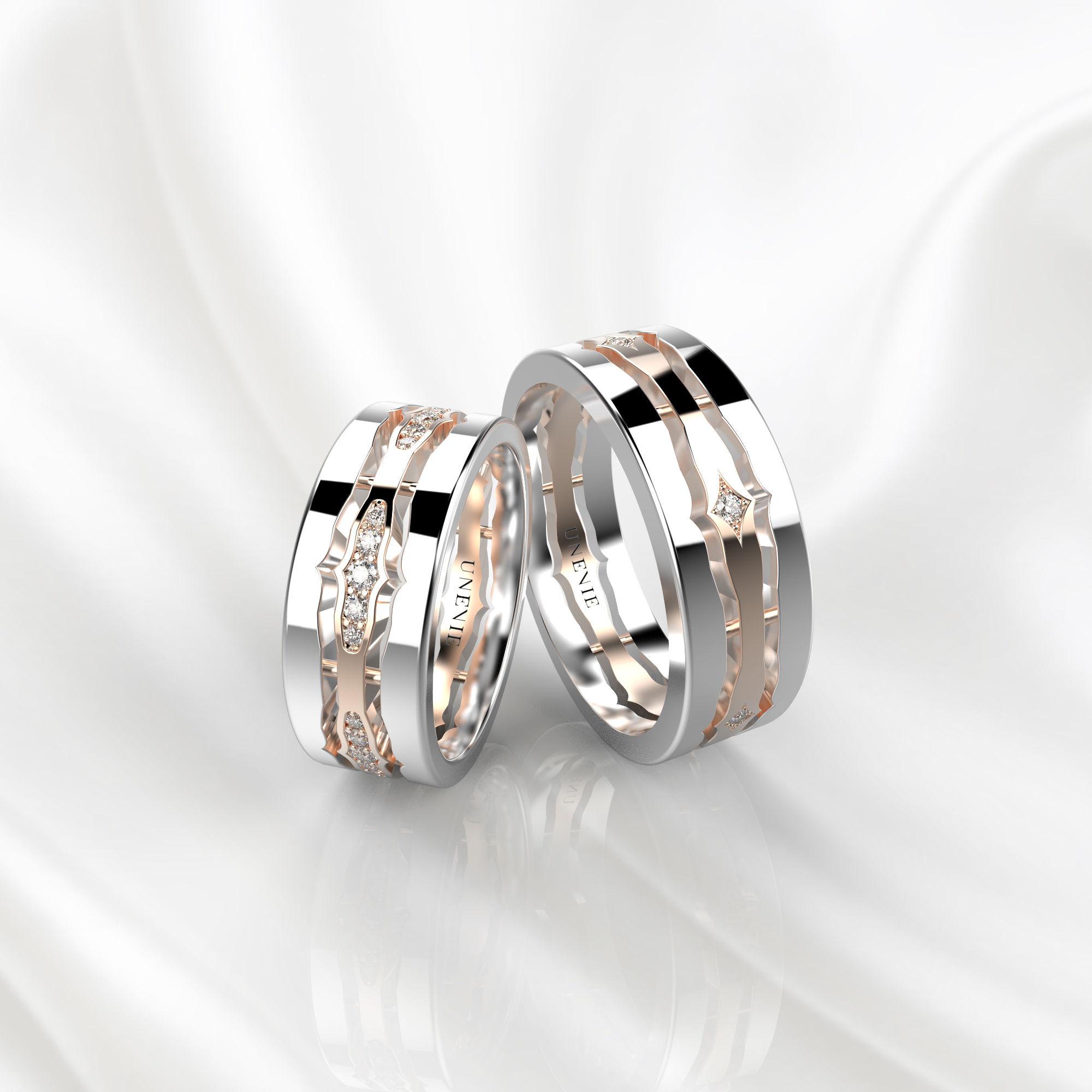 NV48 Парные обручальные кольца из бело-розового золота с бриллиантами