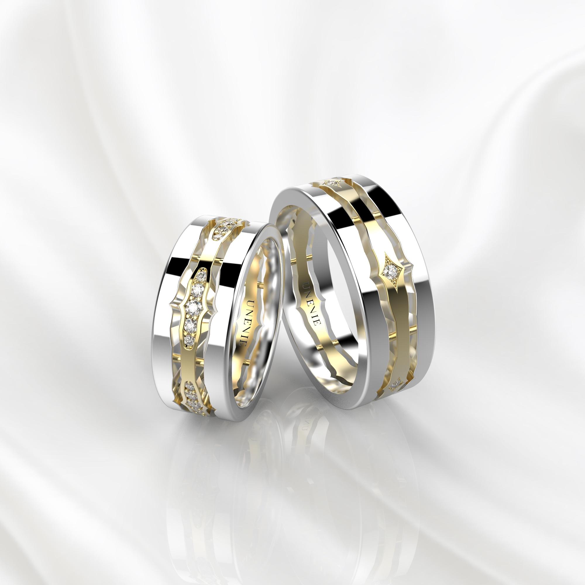 NV48 Парные обручальные кольца из бело-желтого золота с бриллиантами