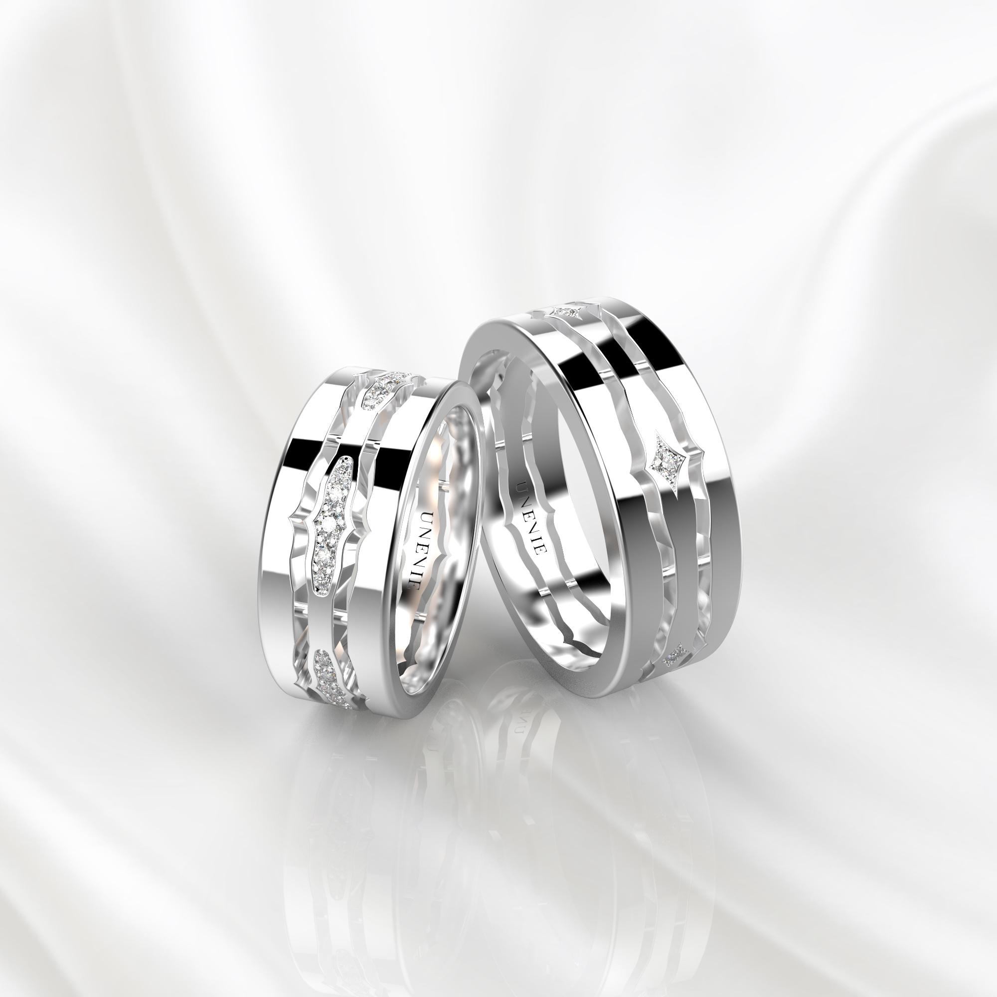 NV48 Парные обручальные кольца из белого золота с бриллиантами