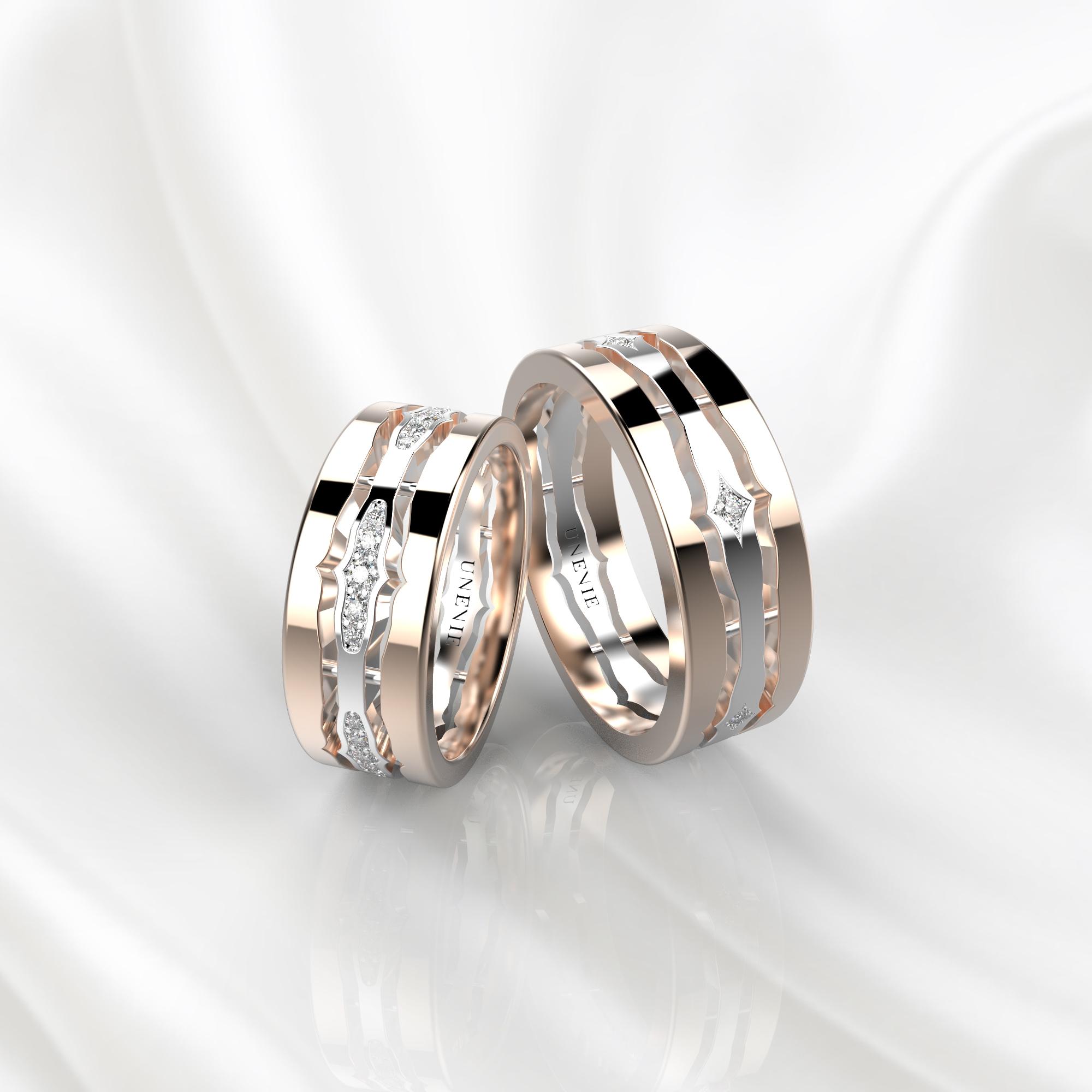 NV48 Парные обручальные кольца из розово-белого золота с бриллиантами