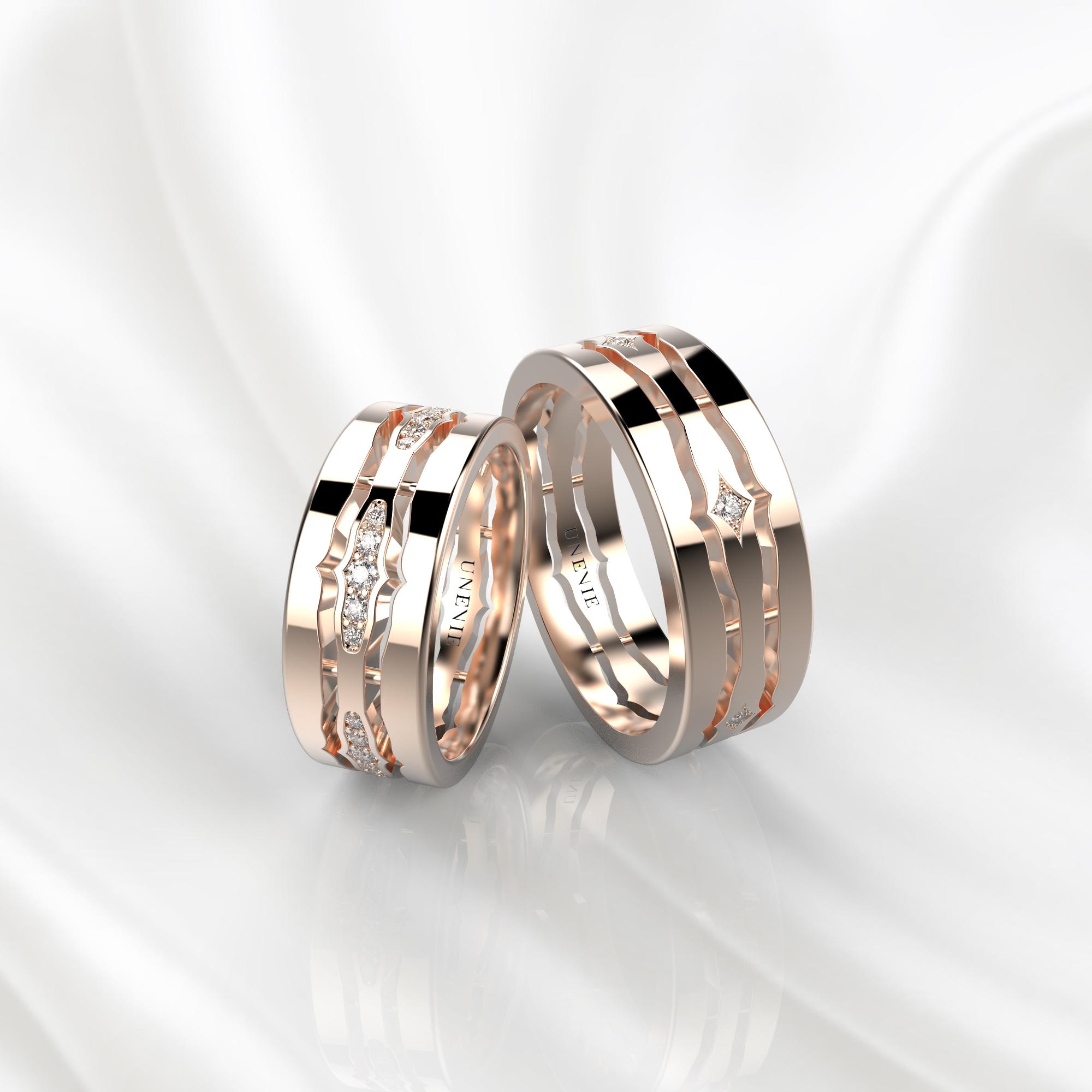 NV48 Парные обручальные кольца из розового золота с бриллиантами