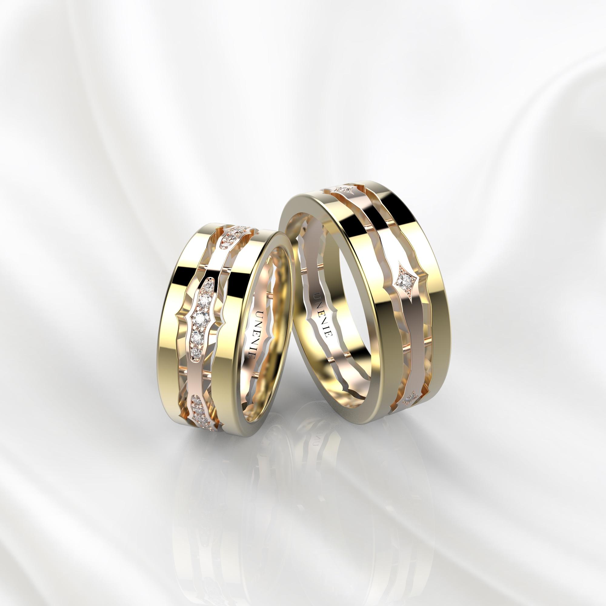 NV48 Парные обручальные кольца из желто-розового золота с бриллиантами