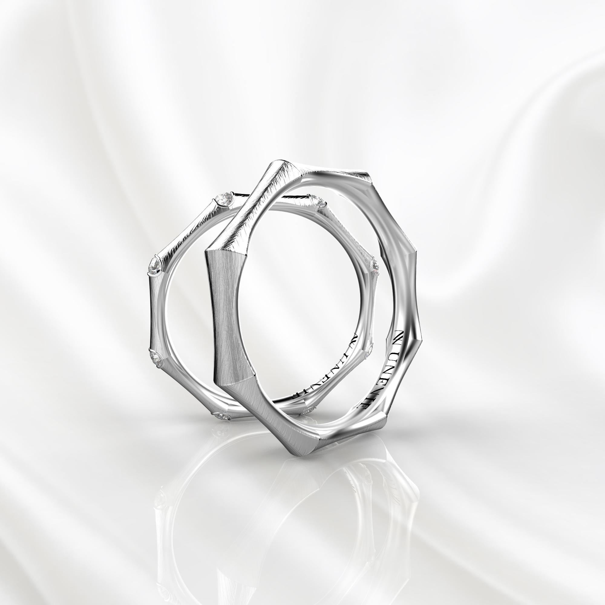 NV49 Парные обручальные кольца из белого золота с бриллиантами