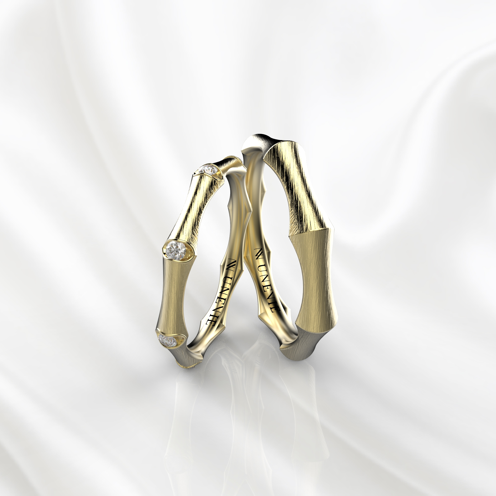 NV49 Парные обручальные кольца из желтого золота с бриллиантами