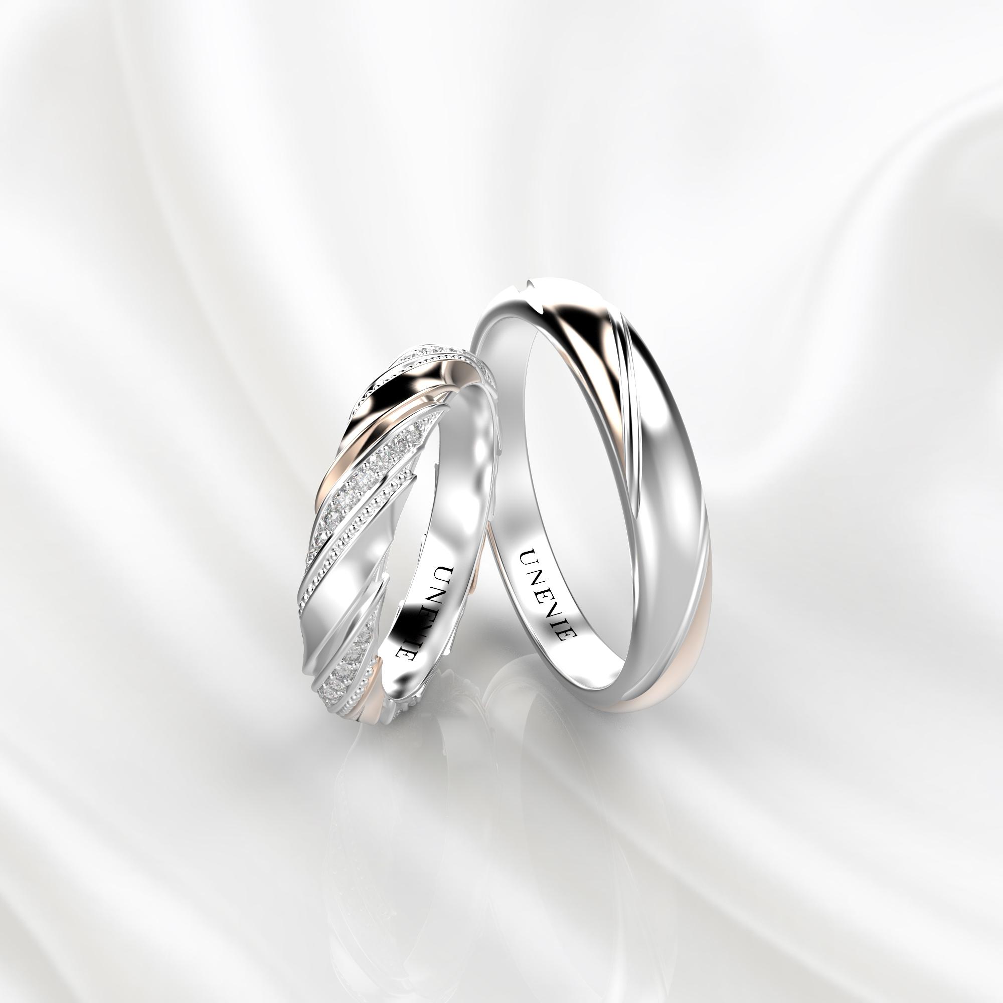 NV50 Парные обручальные кольца из бело-розового золота с бриллиантами