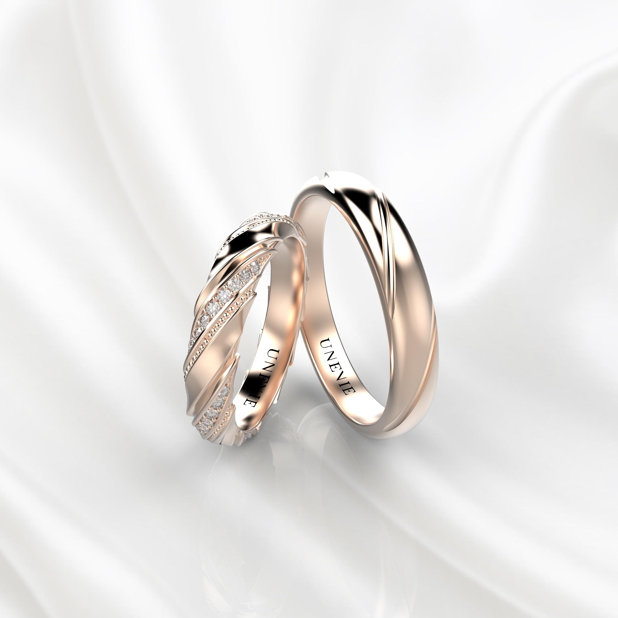 NV50 Парные обручальные кольца из розового золота с бриллиантами