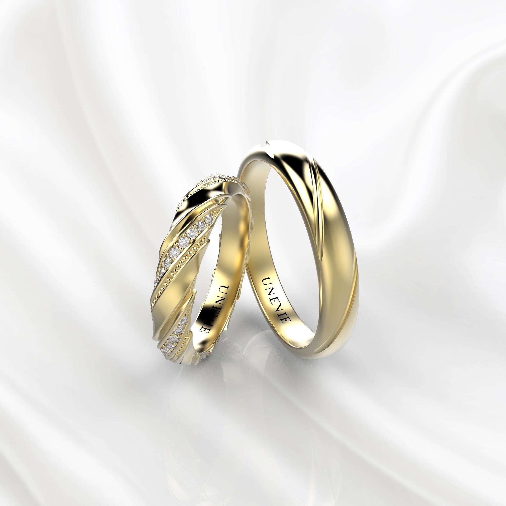 NV50 Парные обручальные кольца из желтого золота с бриллиантами