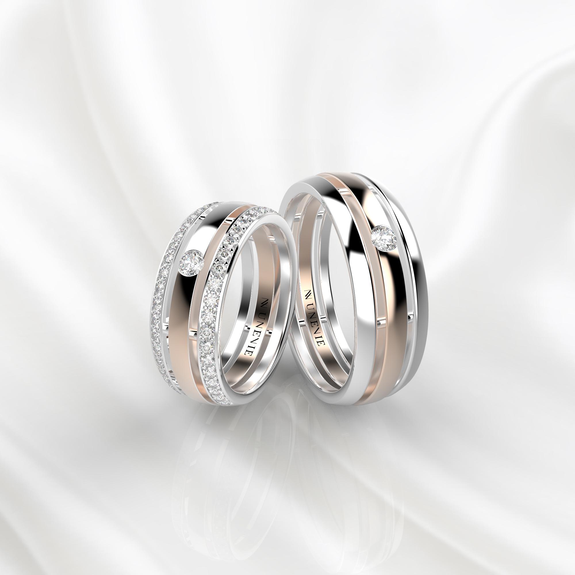 NV51 Парные обручальные кольца из бело-розового золота с бриллиантами