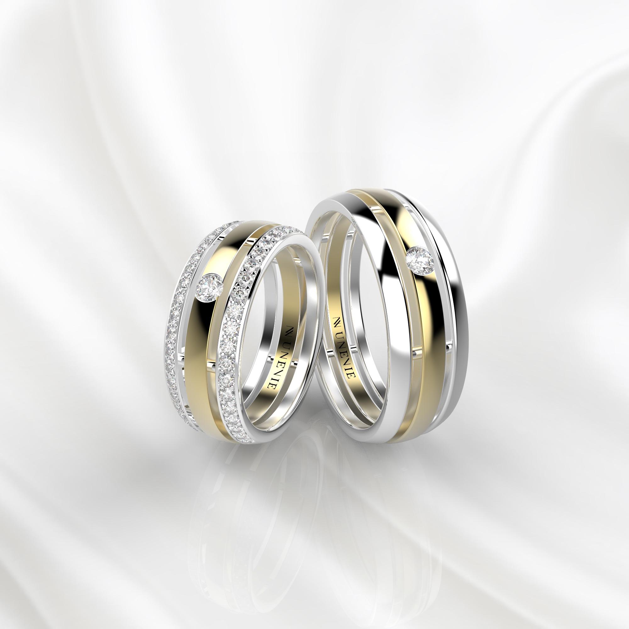 NV51 Парные обручальные кольца из бело-желтого золота с бриллиантами