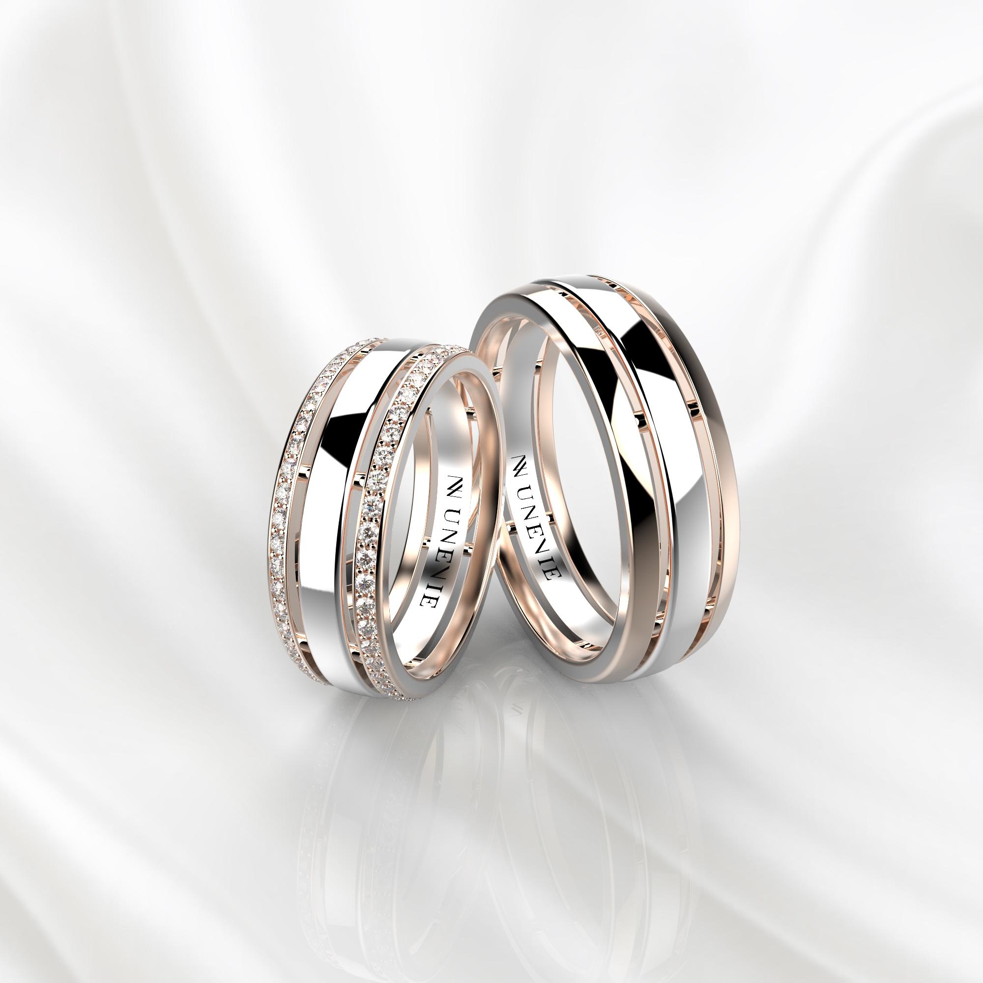 NV52 Парные обручальные кольца из розово-белого золота с бриллиантами