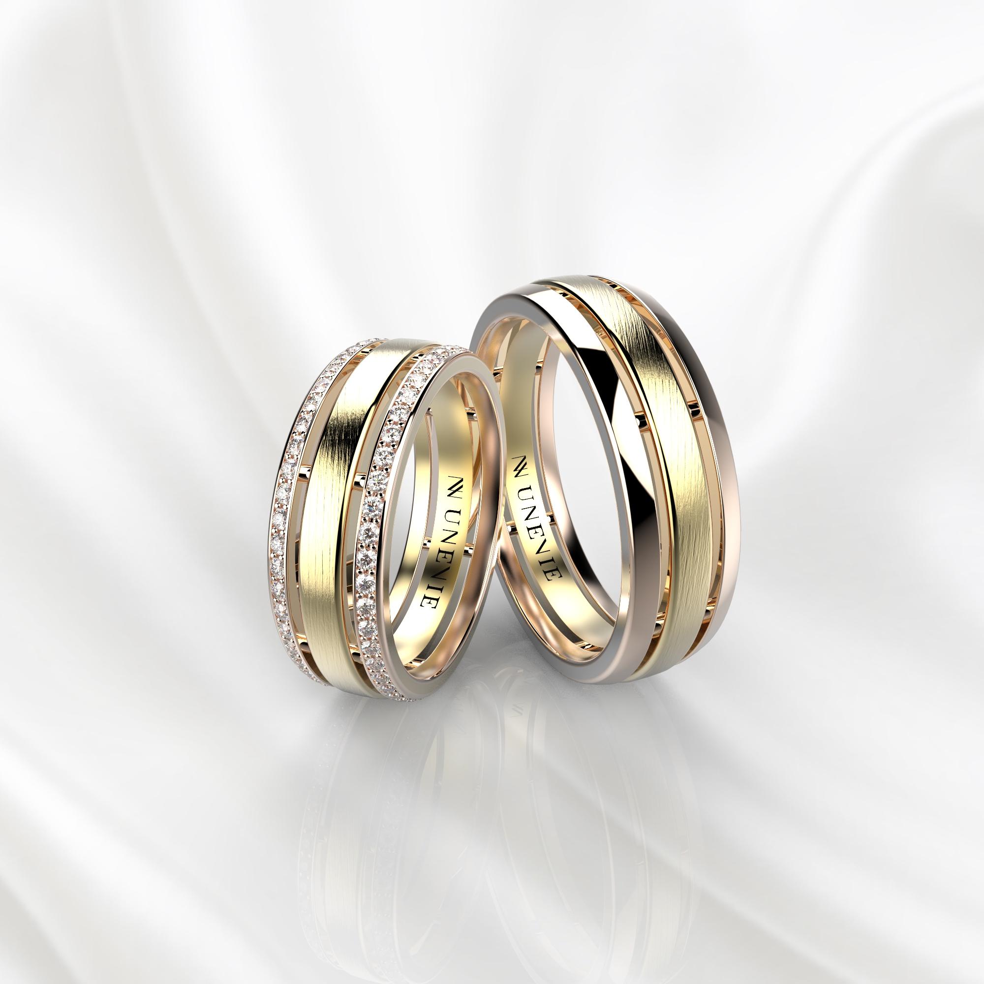NV52 Парные обручальные кольца из розово-желтого золота с бриллиантами