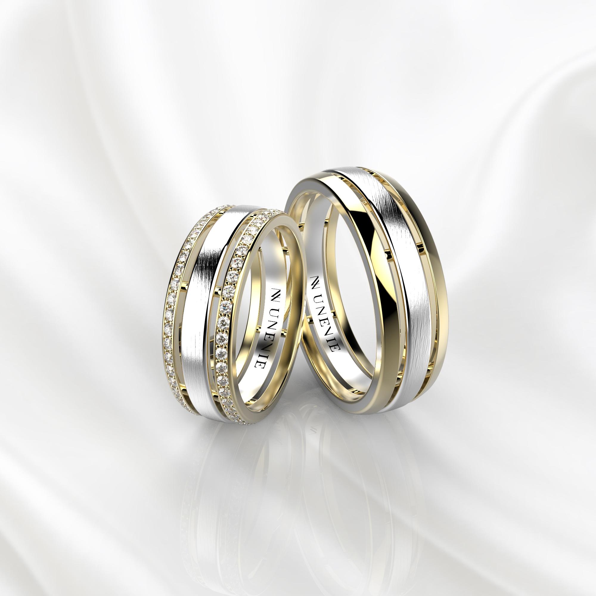 NV52 Парные обручальные кольца из желто-белого золота с бриллиантами