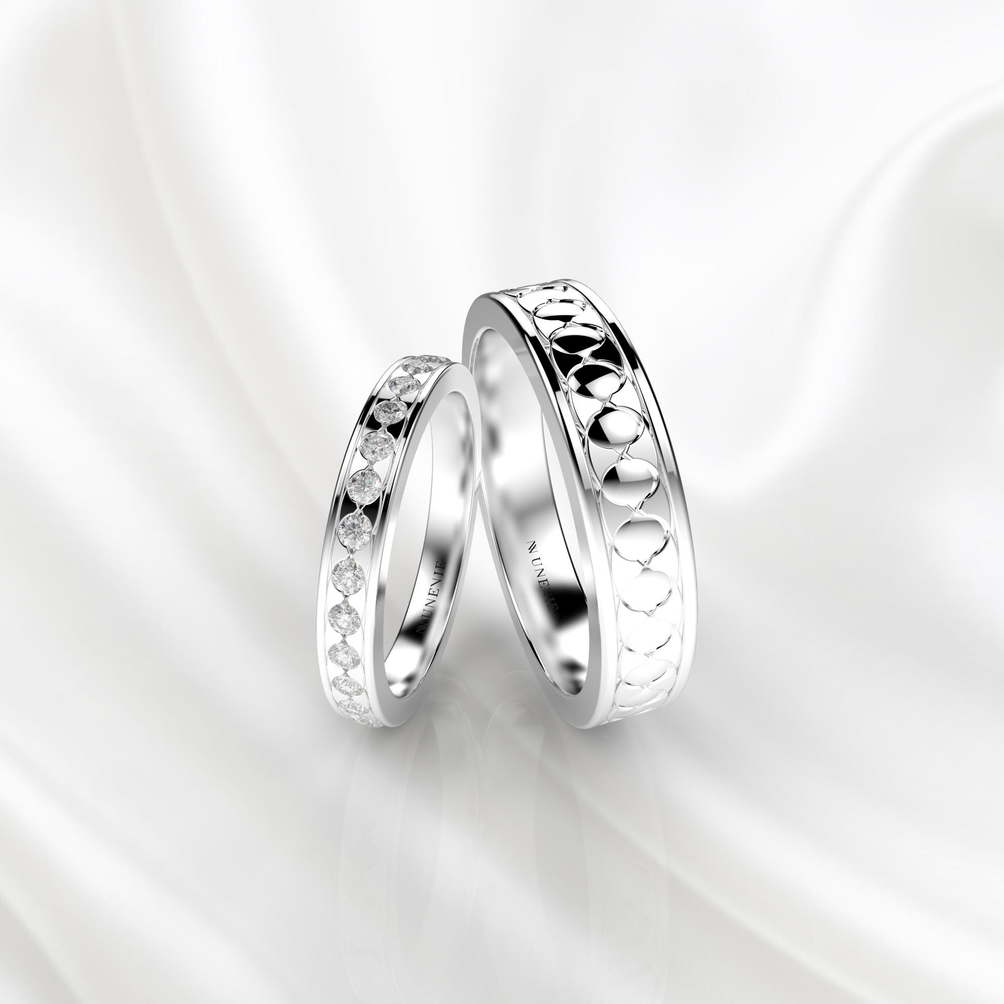 NV53 Парные обручальные кольца из белого золота с бриллиантами