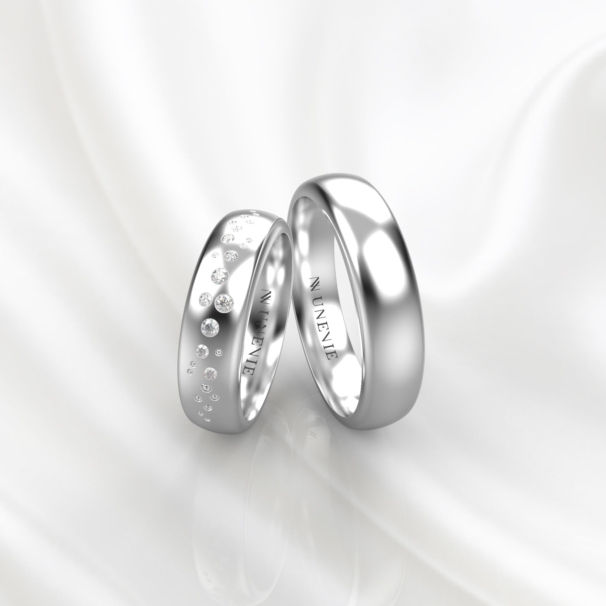 NV54 Парные обручальные кольца из белого золота с бриллиантами