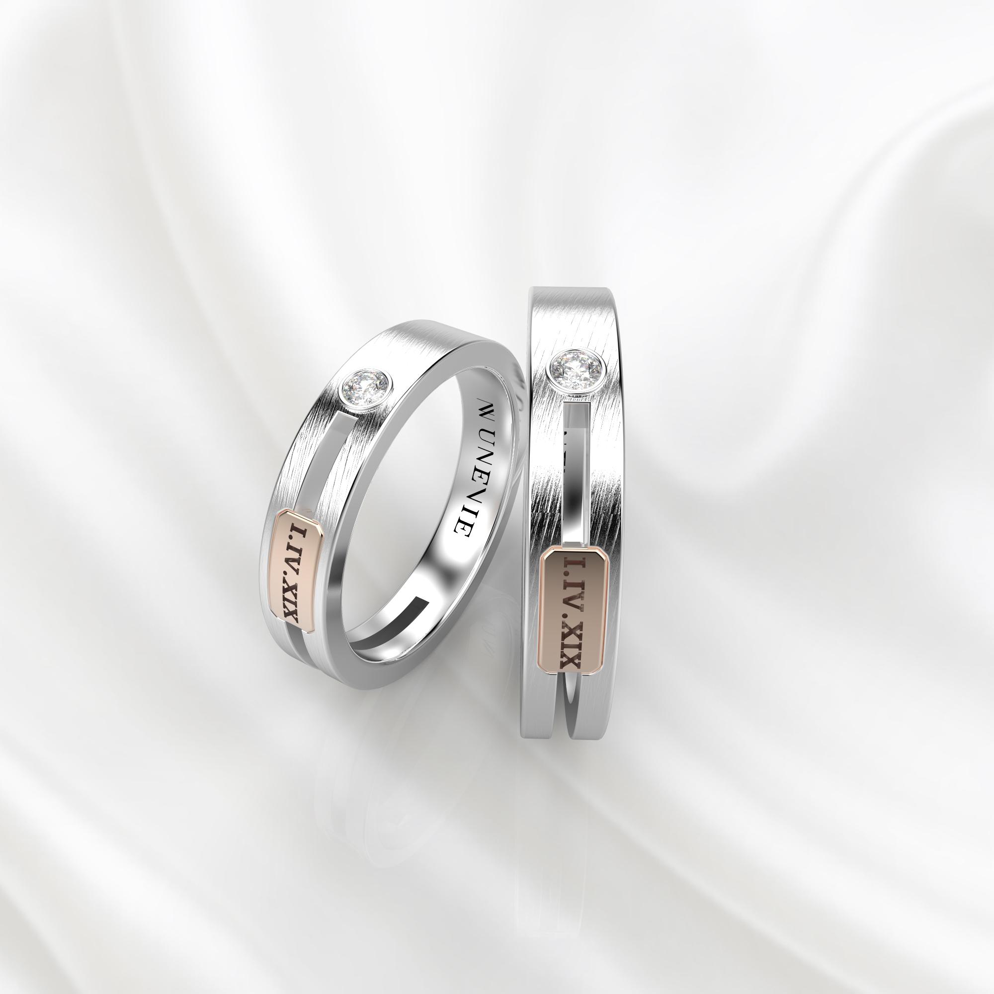 NV55 Парные обручальные кольца из бело-розового золота с бриллиантами