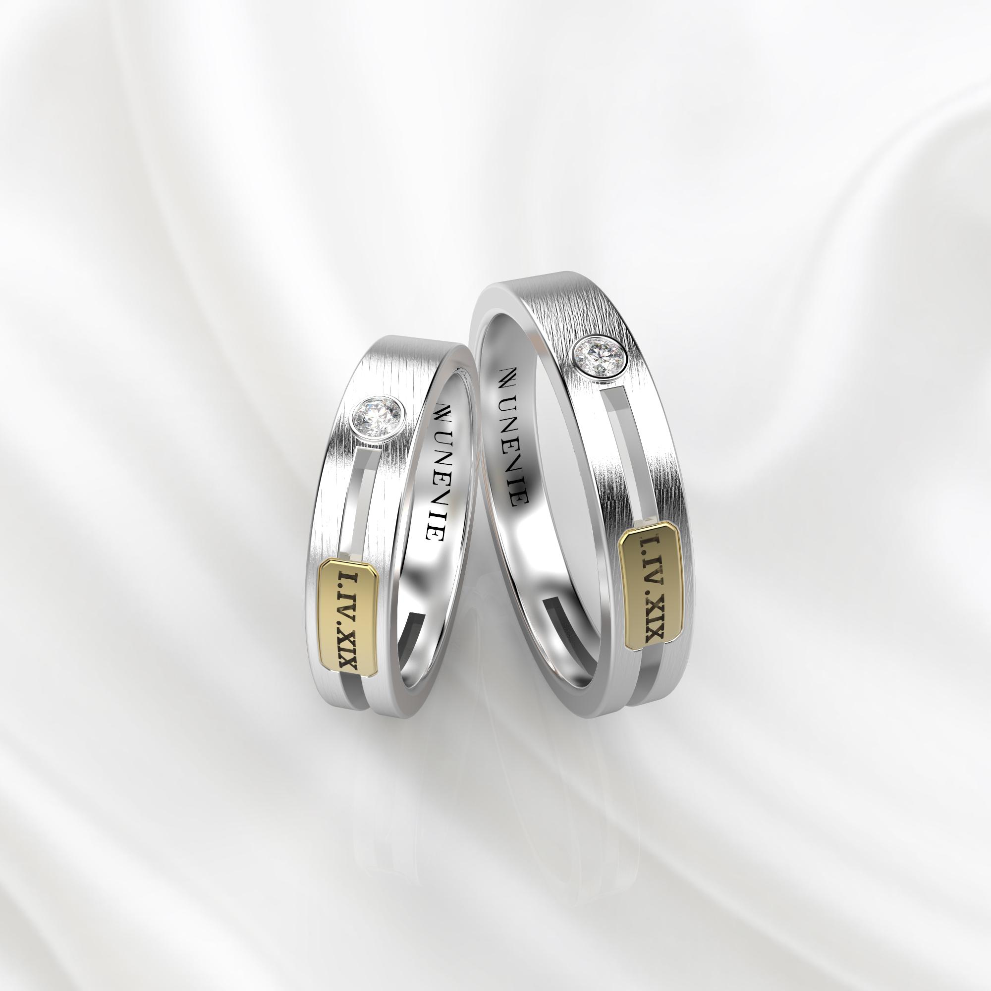 NV55 Парные обручальные кольца из бело-желтого золота с бриллиантами