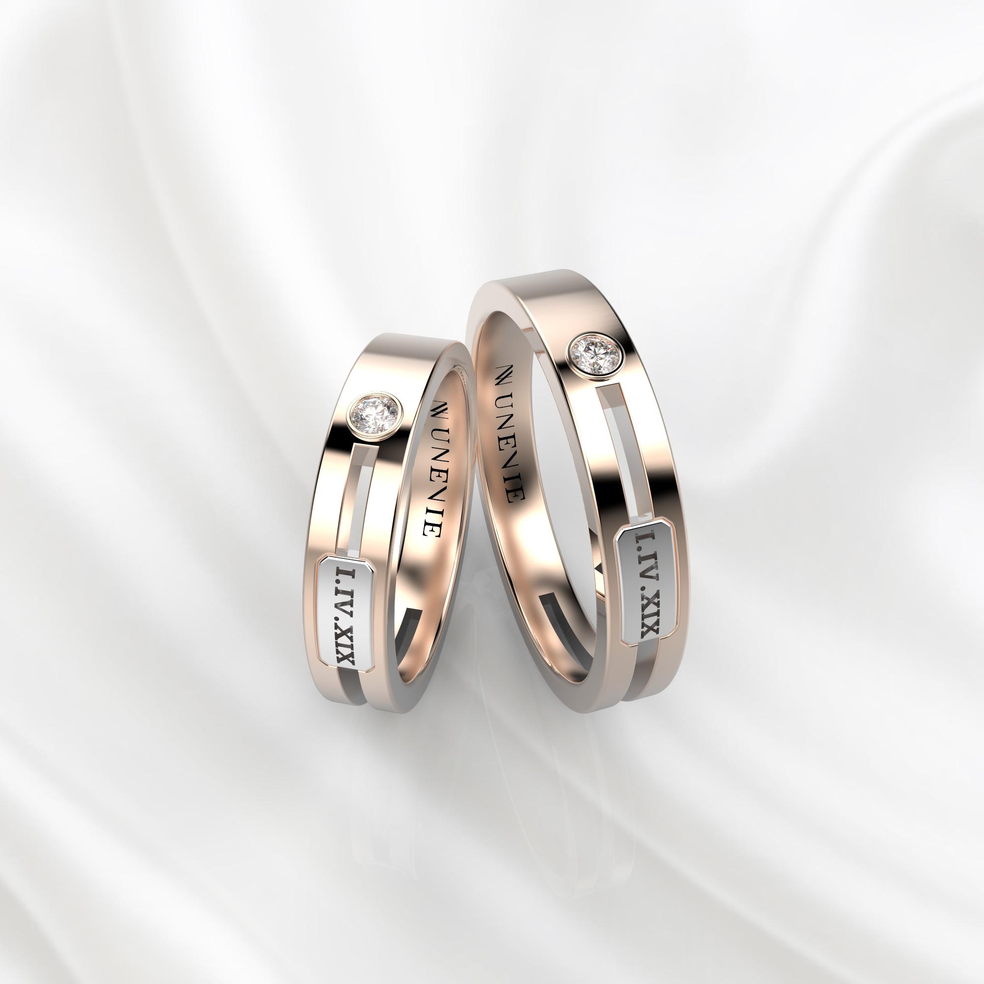 NV55 Парные обручальные кольца из розово-белого золота с бриллиантами