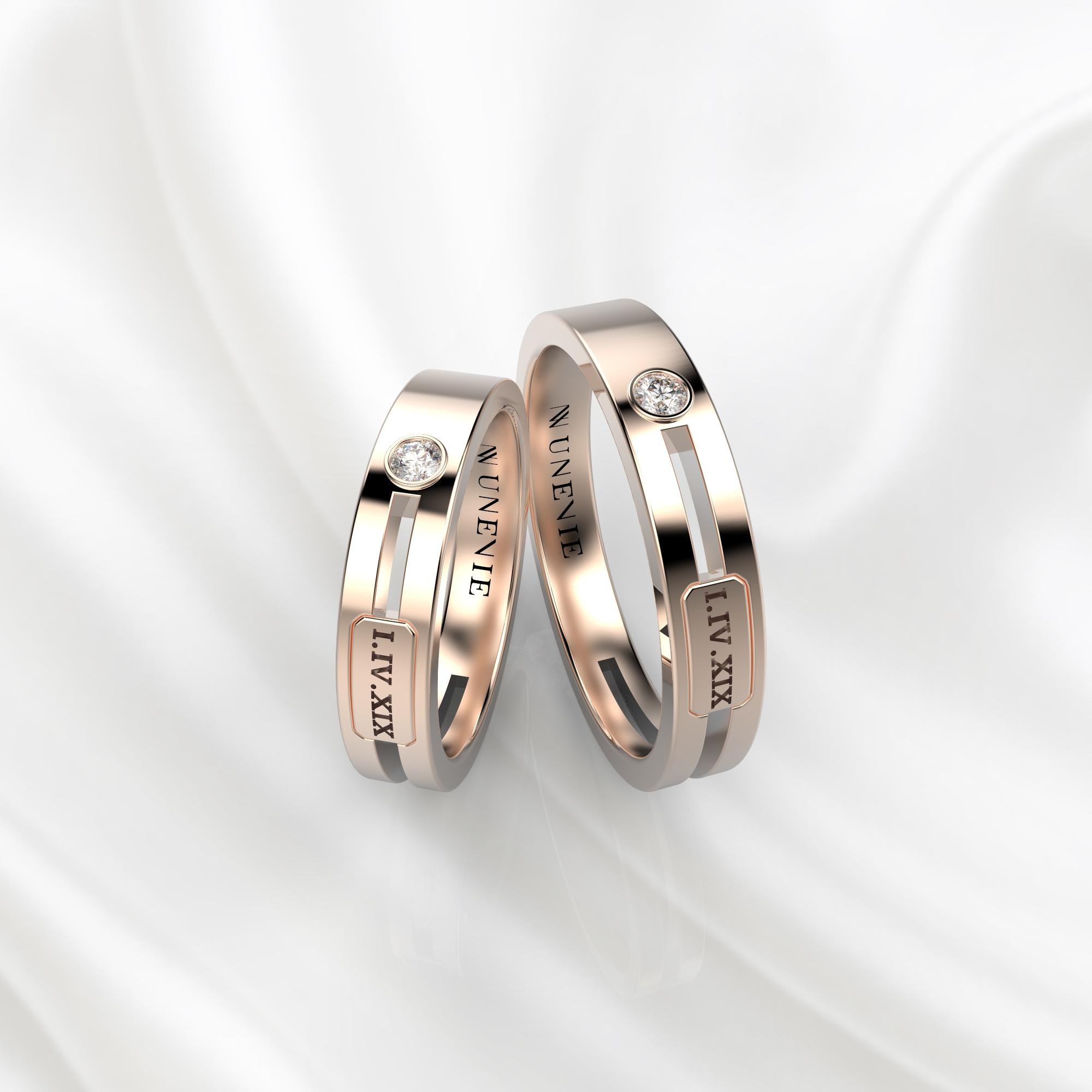 NV55 Парные обручальные кольца из розового золота с бриллиантами