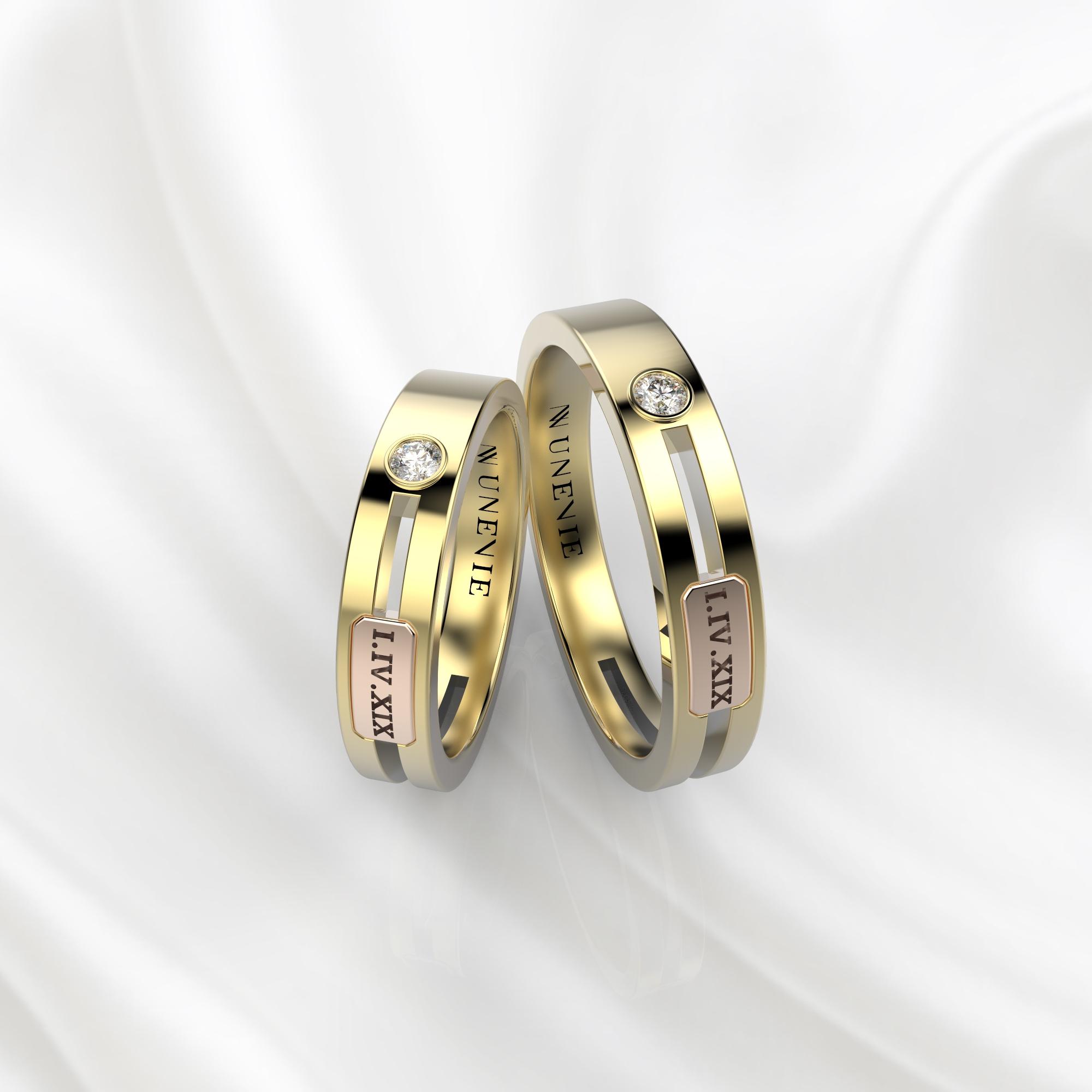 NV55 Парные обручальные кольца из желто-розового золота с бриллиантами