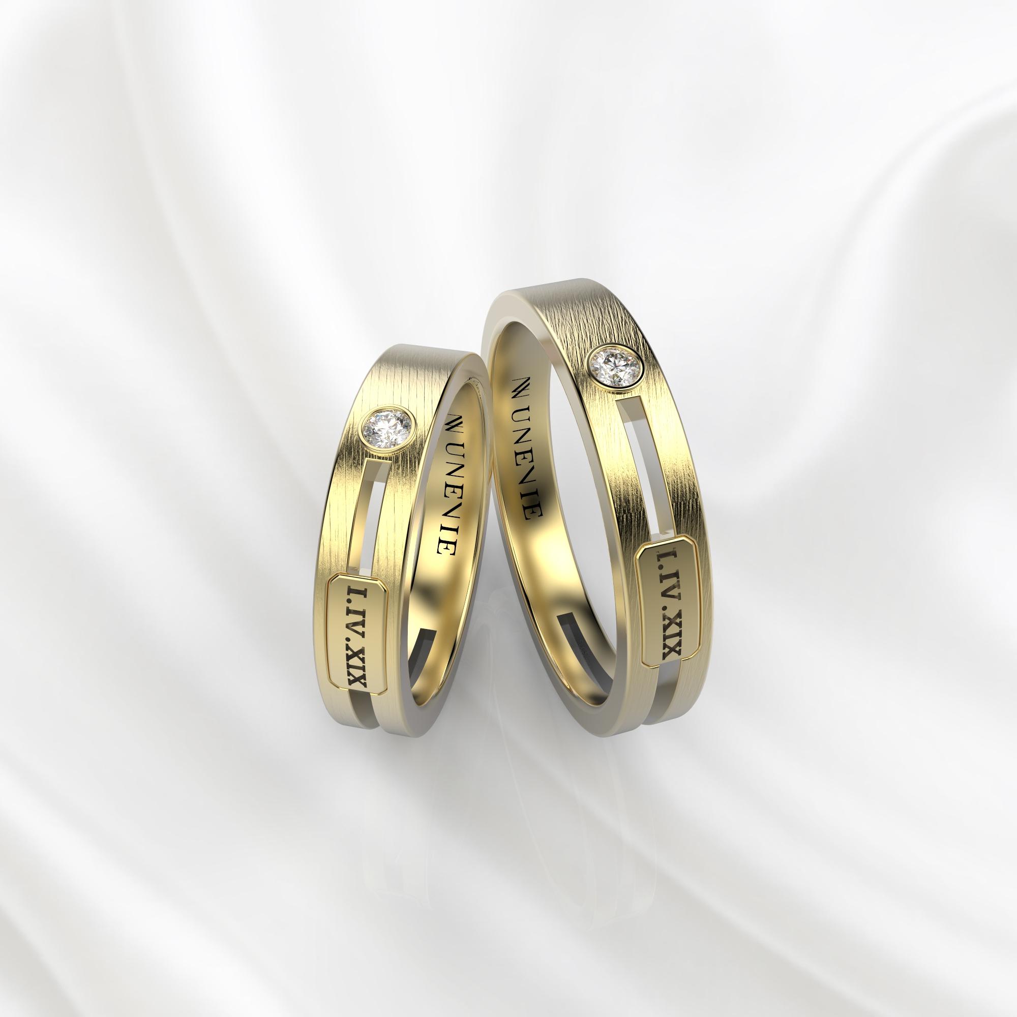 NV55 Парные обручальные кольца из желтого золота с бриллиантами
