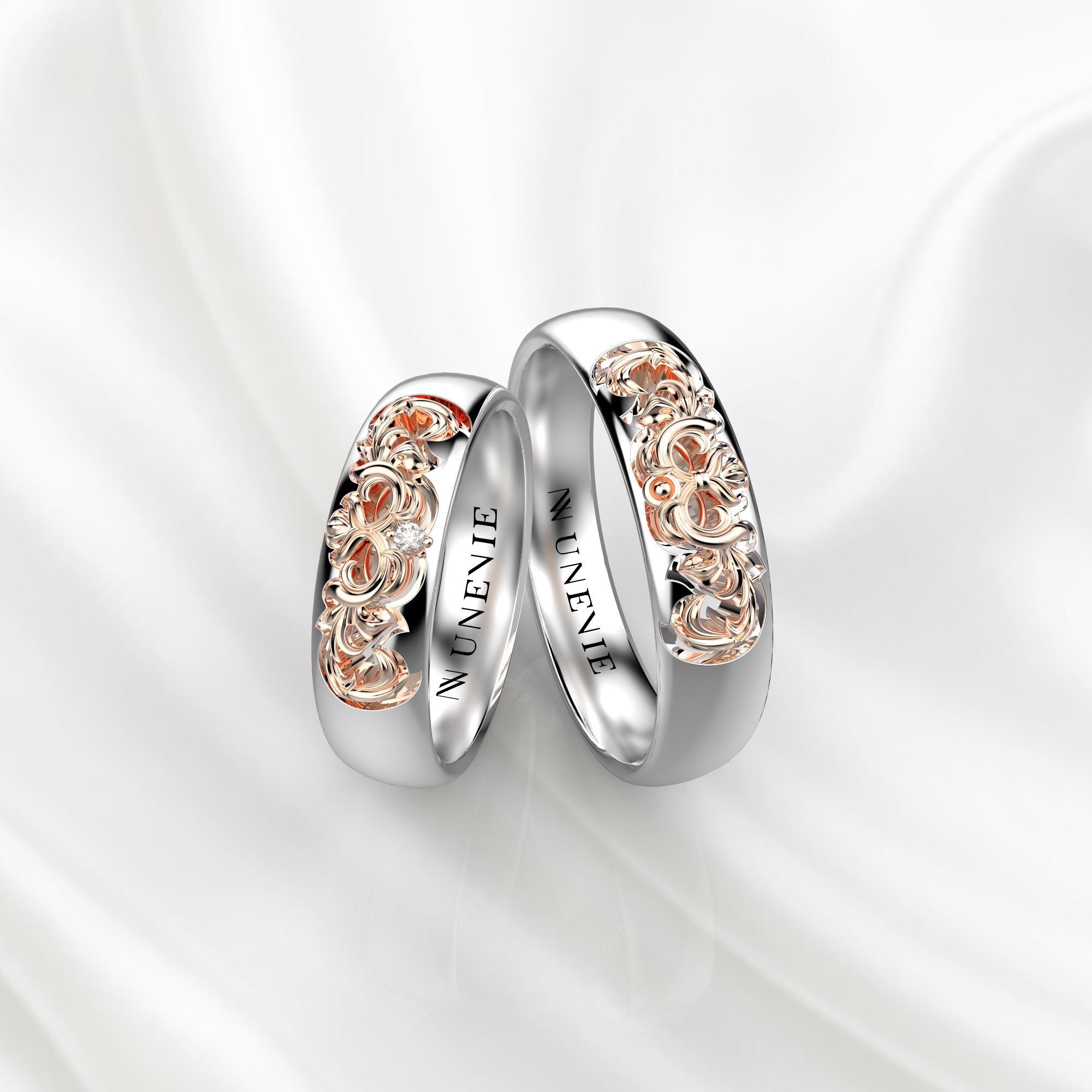 NV56 Парные обручальные кольца из белого-розового золота с бриллиантами
