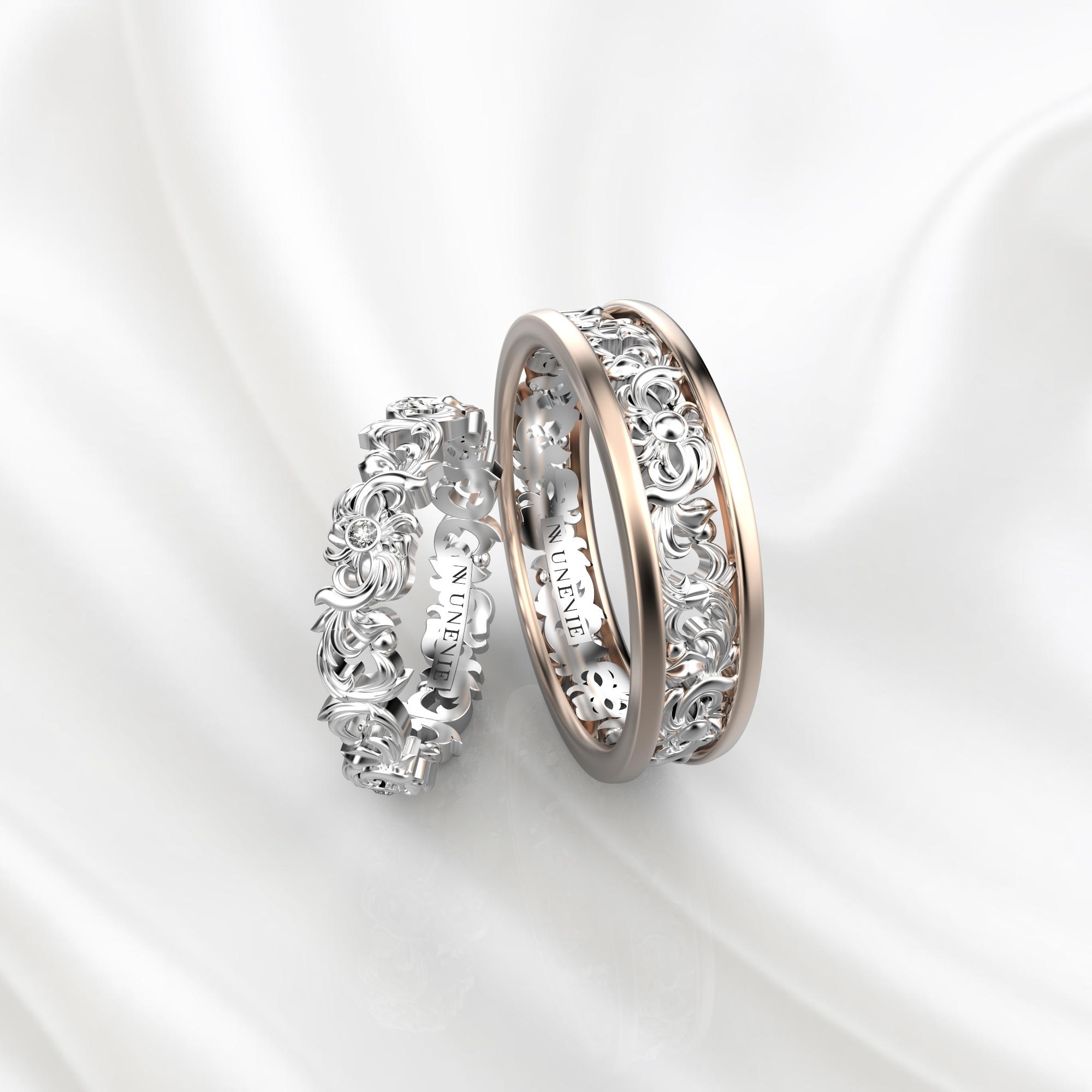 NV57 Парные обручальные кольца из розово-белого золота с бриллиантами