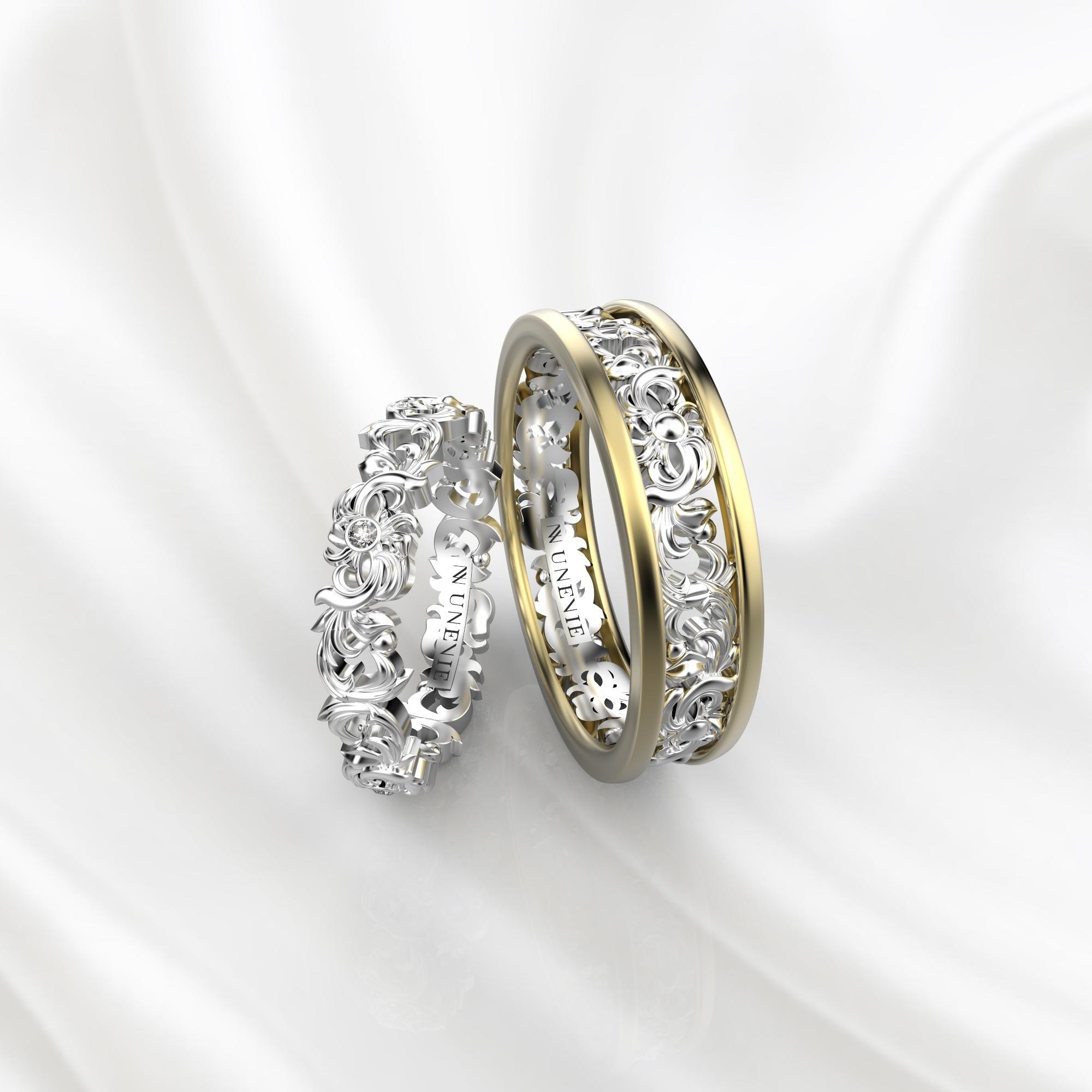 NV57 Парные обручальные кольца из желто-белого золота с бриллиантами