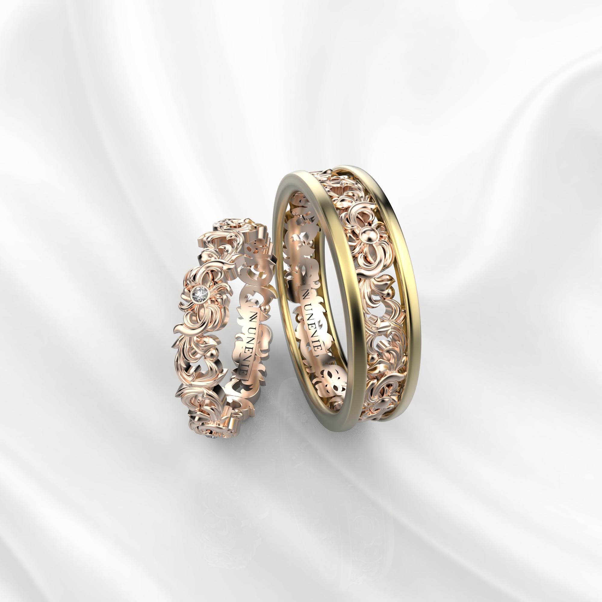 NV57 Парные обручальные кольца из желто-розового золота с бриллиантами