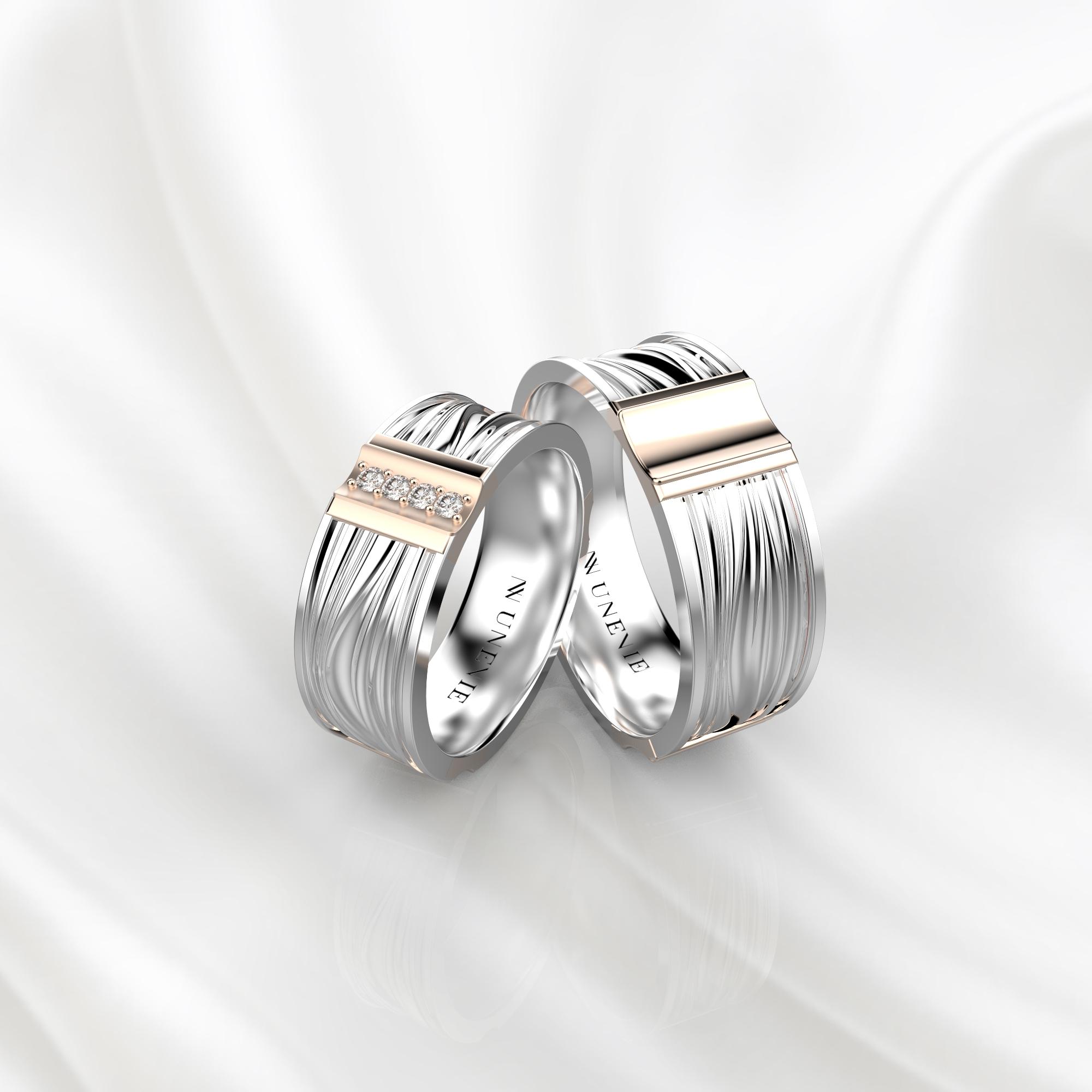 NV58 Парные обручальные кольца из бело-розового золота с бриллиантами