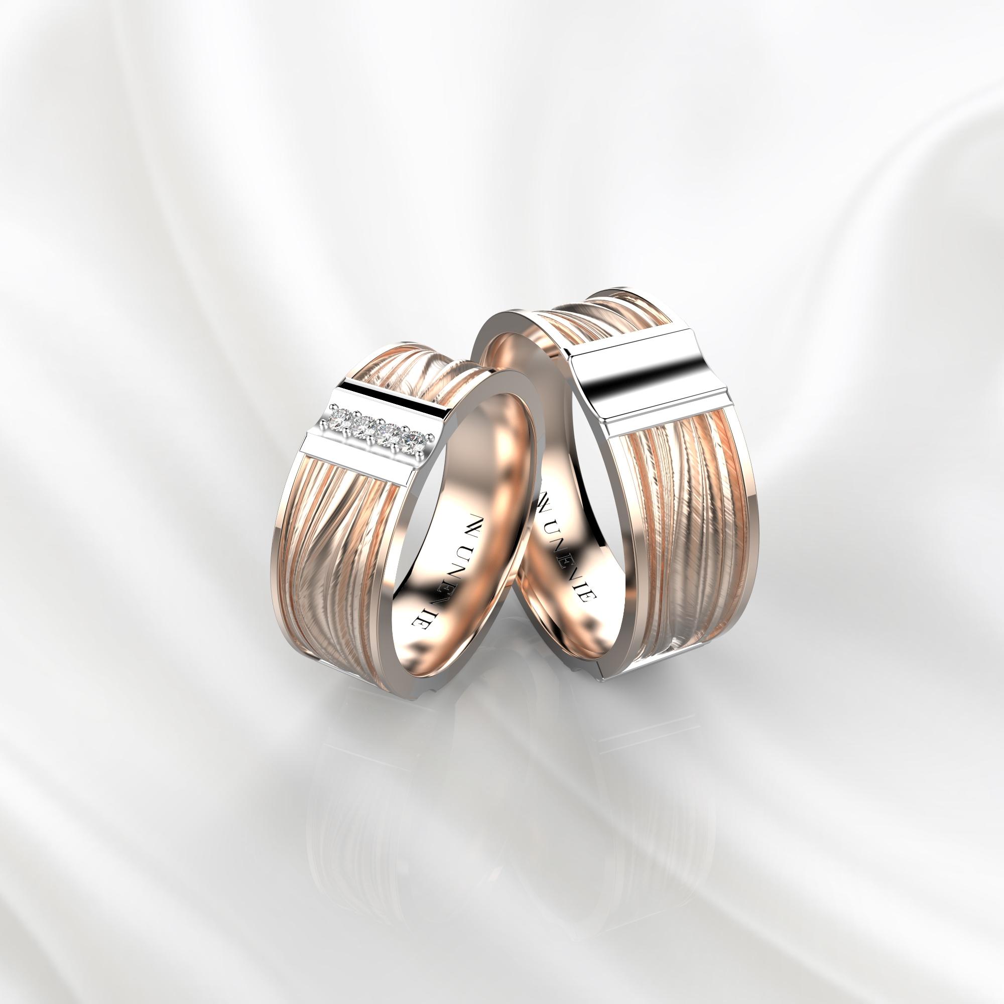 NV58 Парные обручальные кольца из розово-белого золота с бриллиантами