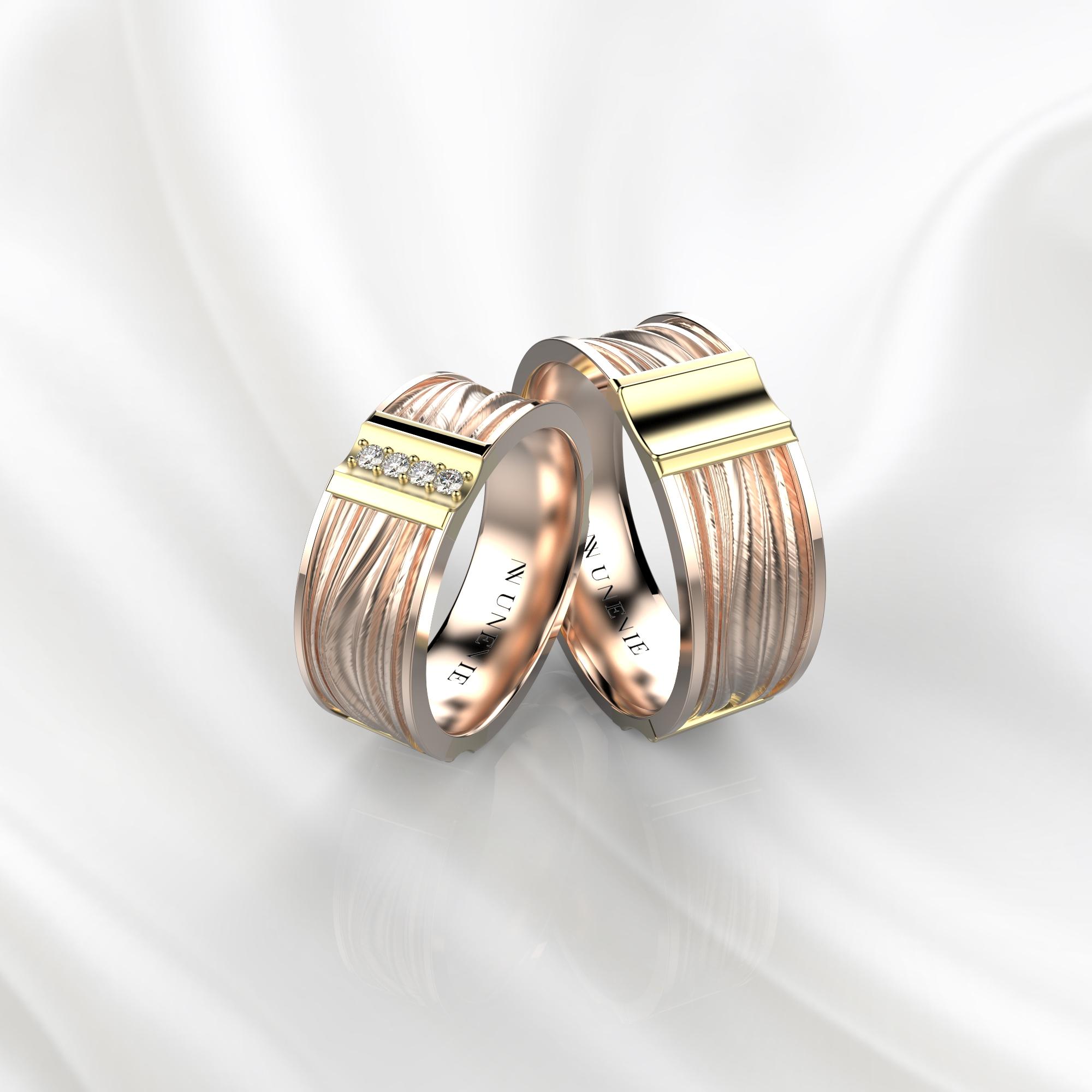 NV58 Парные обручальные кольца из розово-желтого золота с бриллиантами