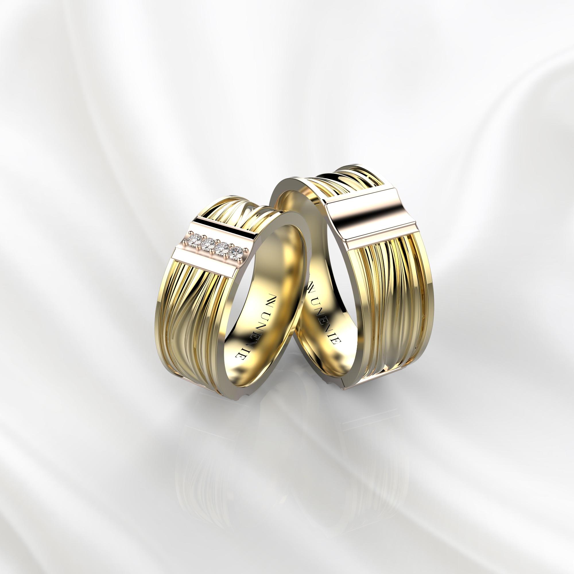 NV58 Парные обручальные кольца из желто-розового золота с бриллиантами