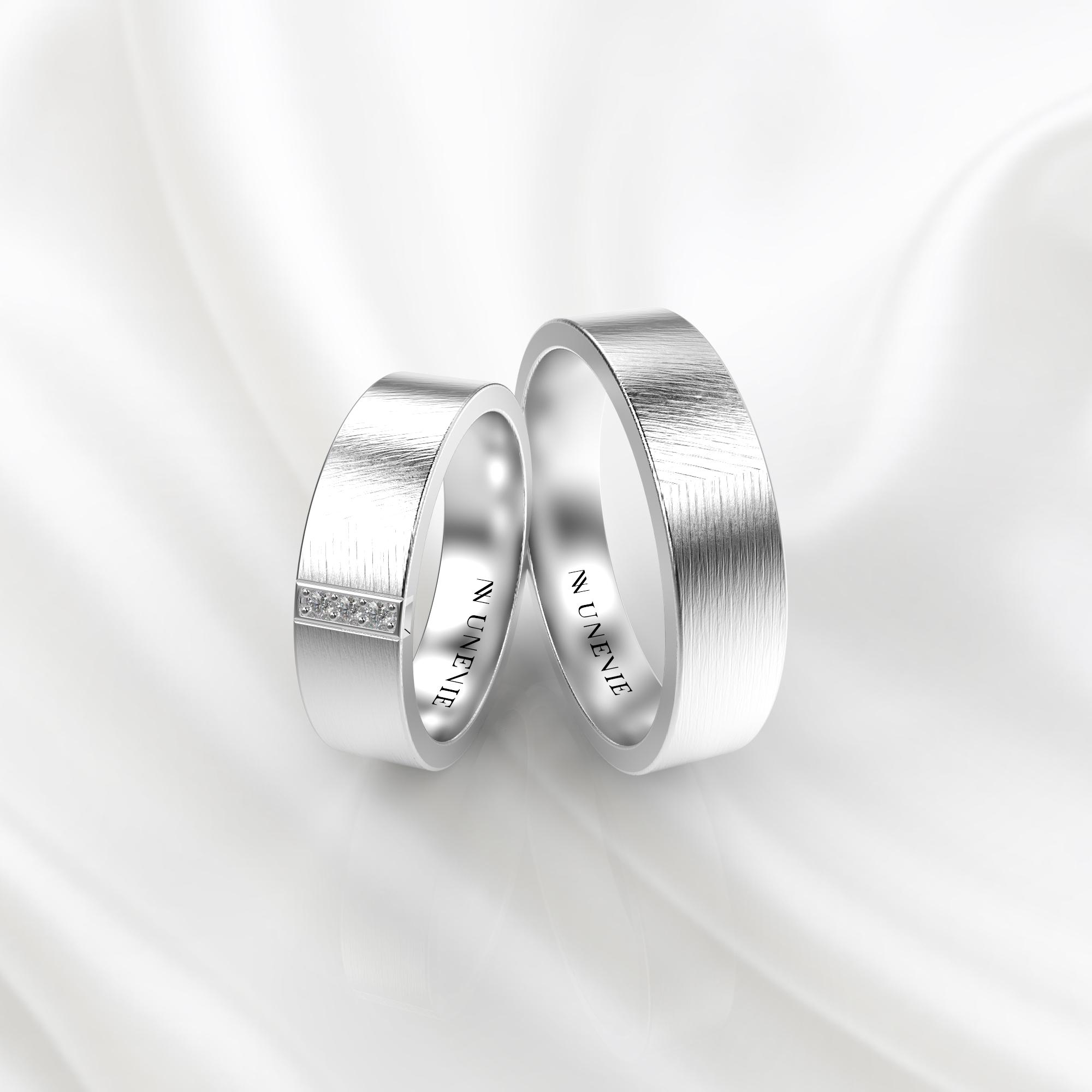 NV59 Парные обручальные кольца из белого золота с бриллиантами
