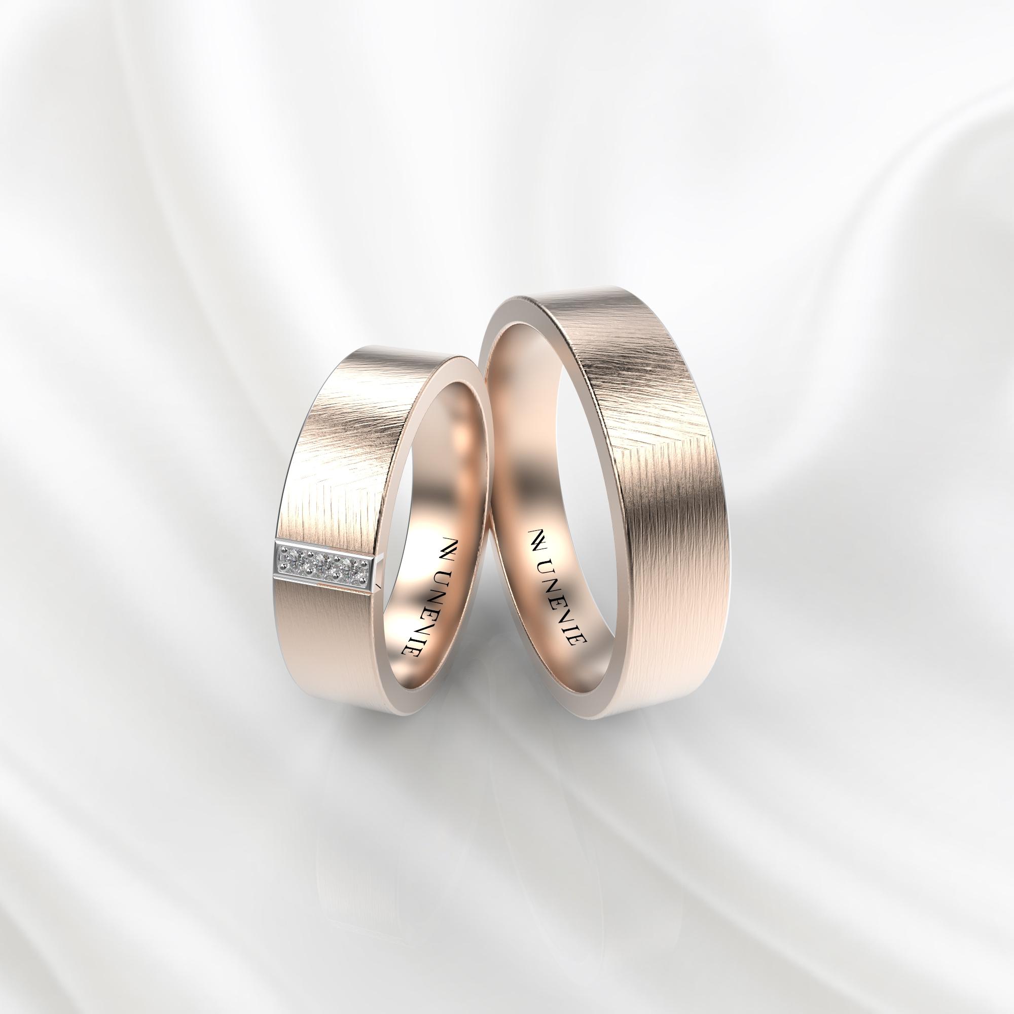 NV59 Парные обручальные кольца из розового золота с бриллиантами