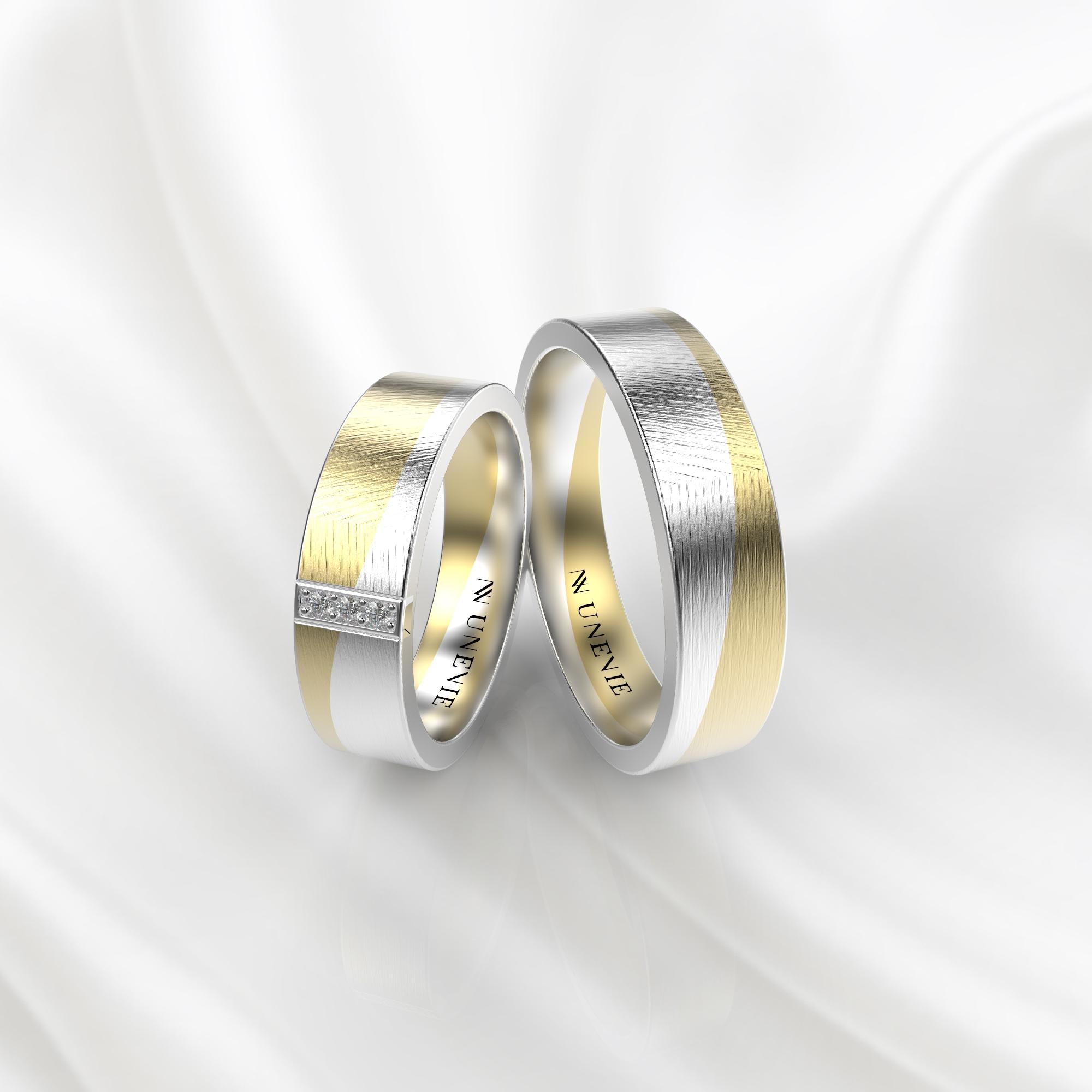 NV59 Парные обручальные кольца из желто-белого золота с бриллиантами