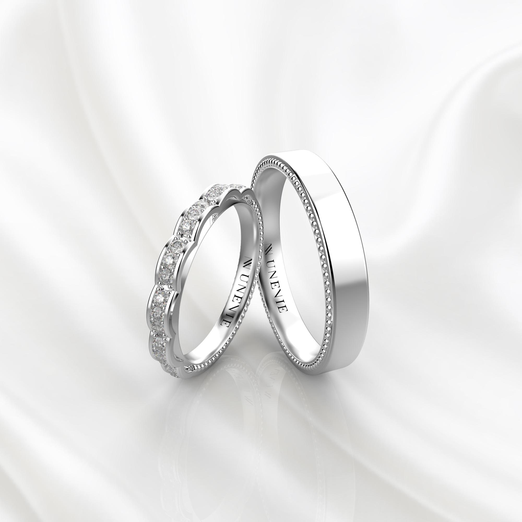 NV60 Парные обручальные кольца из белого золота с бриллиантами