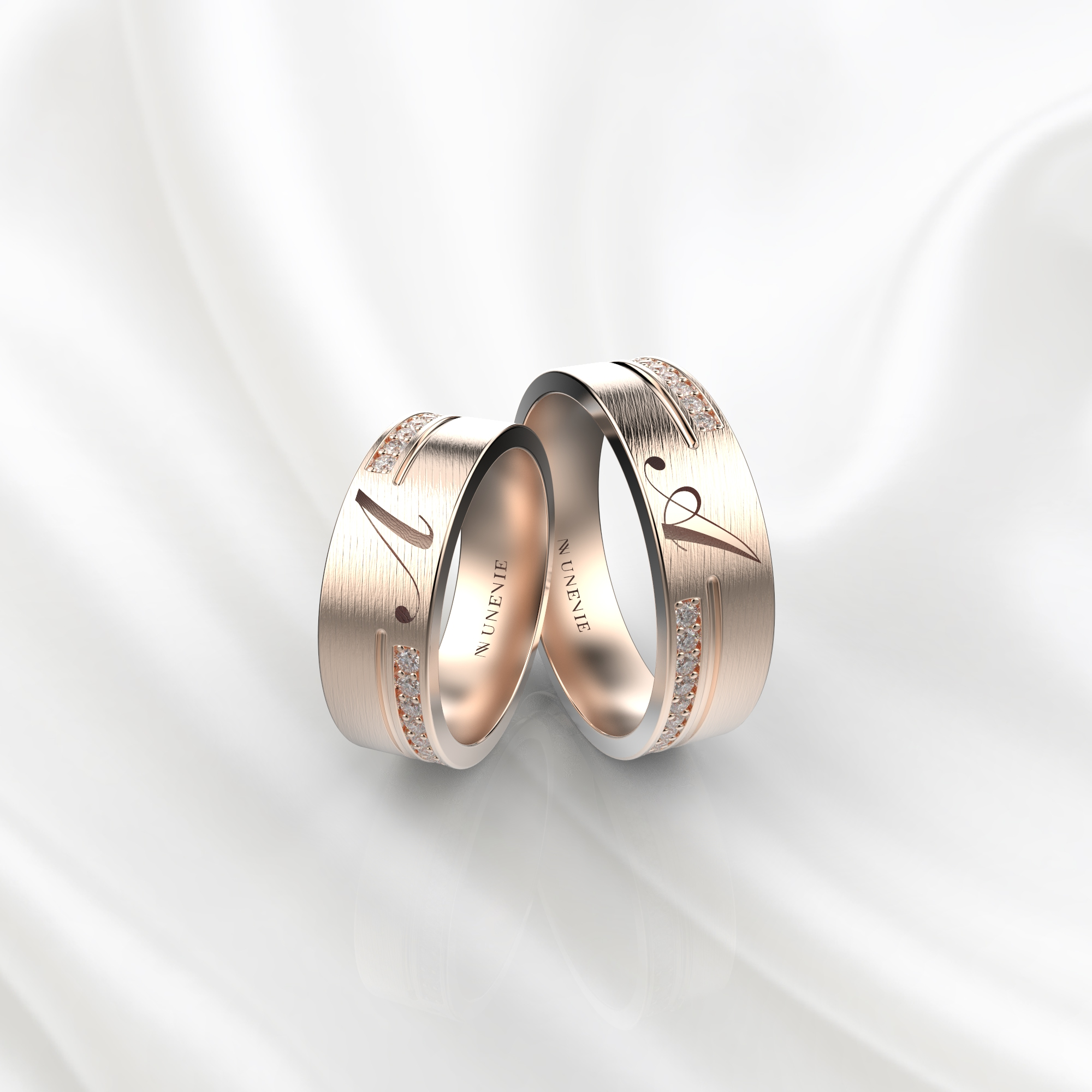 NV61 Парные обручальные кольца из розового золота с гравировкой