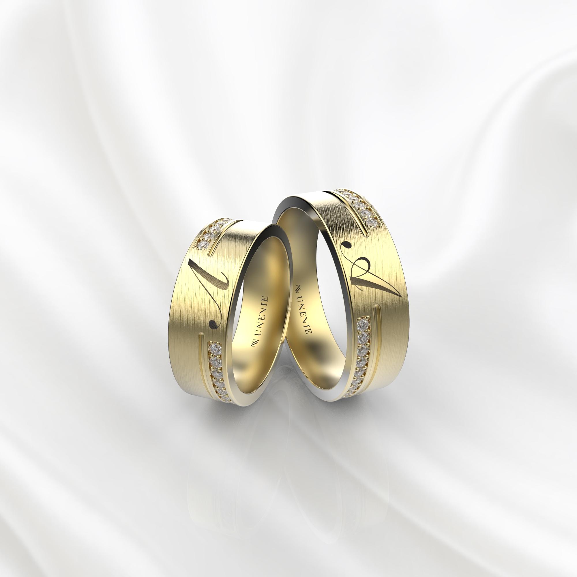 NV61 Парные обручальные кольца из желтого золота с гравировкой