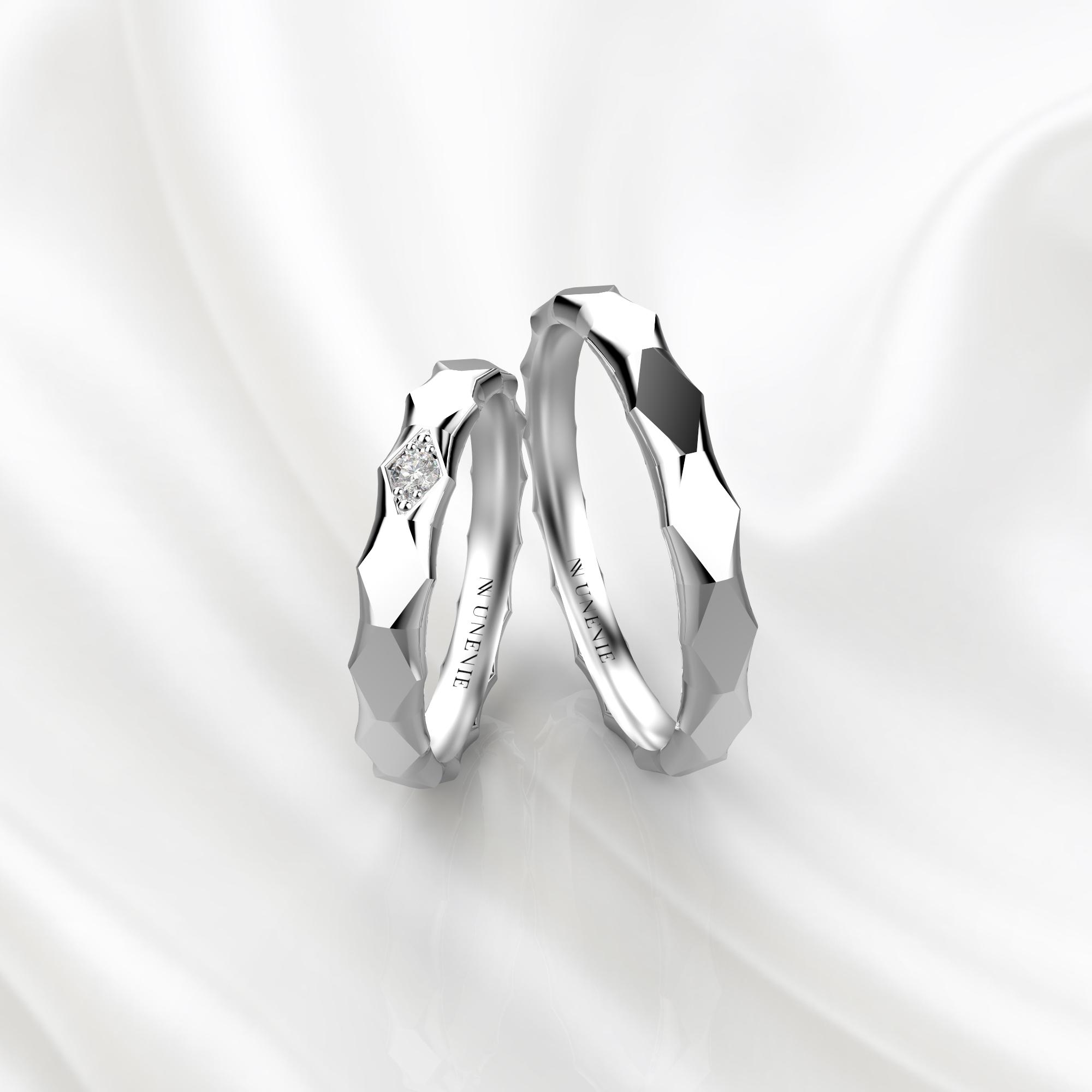 NV62 Парные обручальные кольца из белого золота с бриллиантом