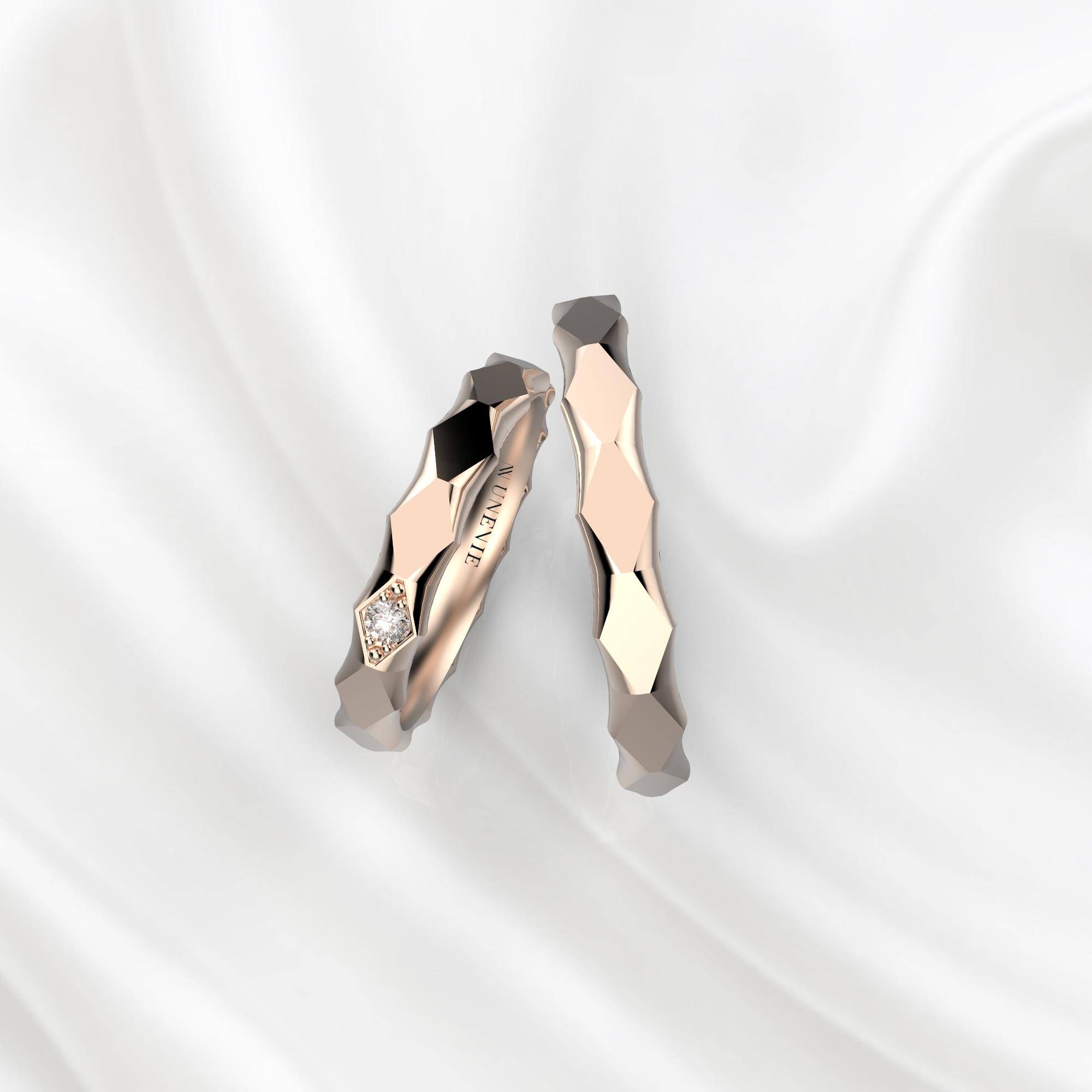 NV62 Парные обручальные кольца из розового золота с бриллиантом