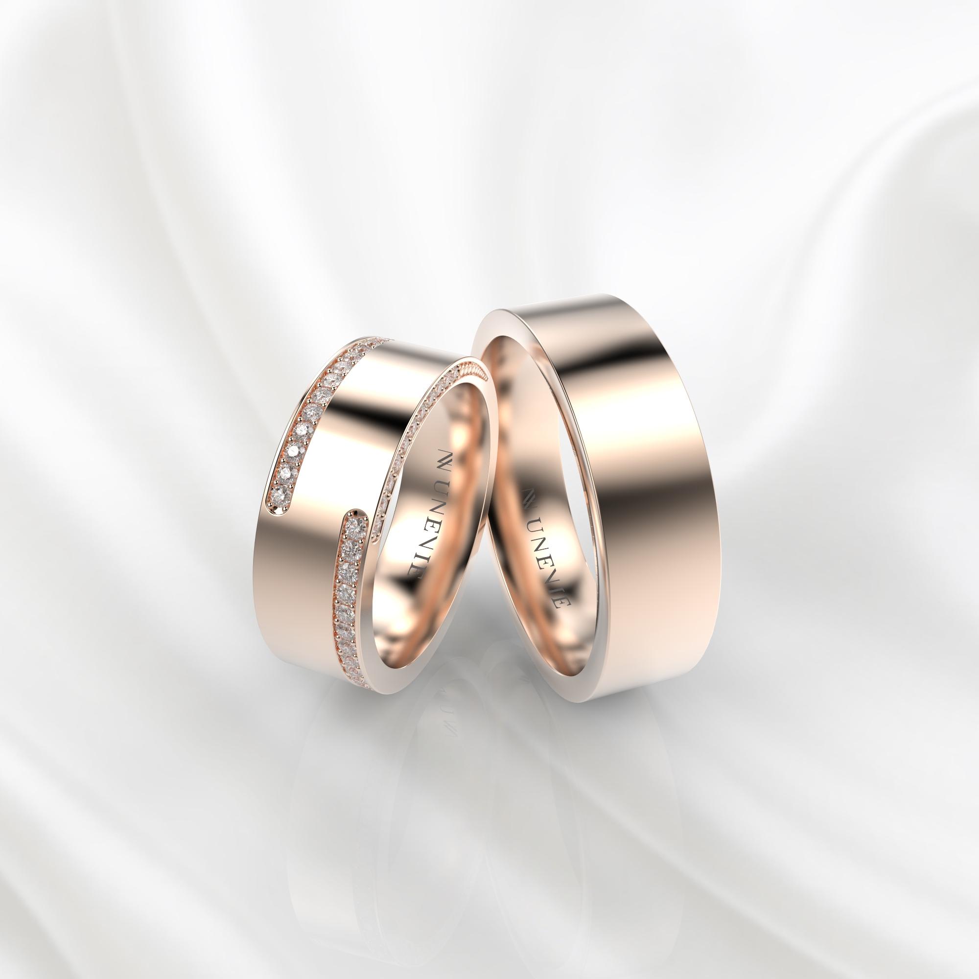 NV63 Парные обручальные кольца из розового золота с бриллиантами