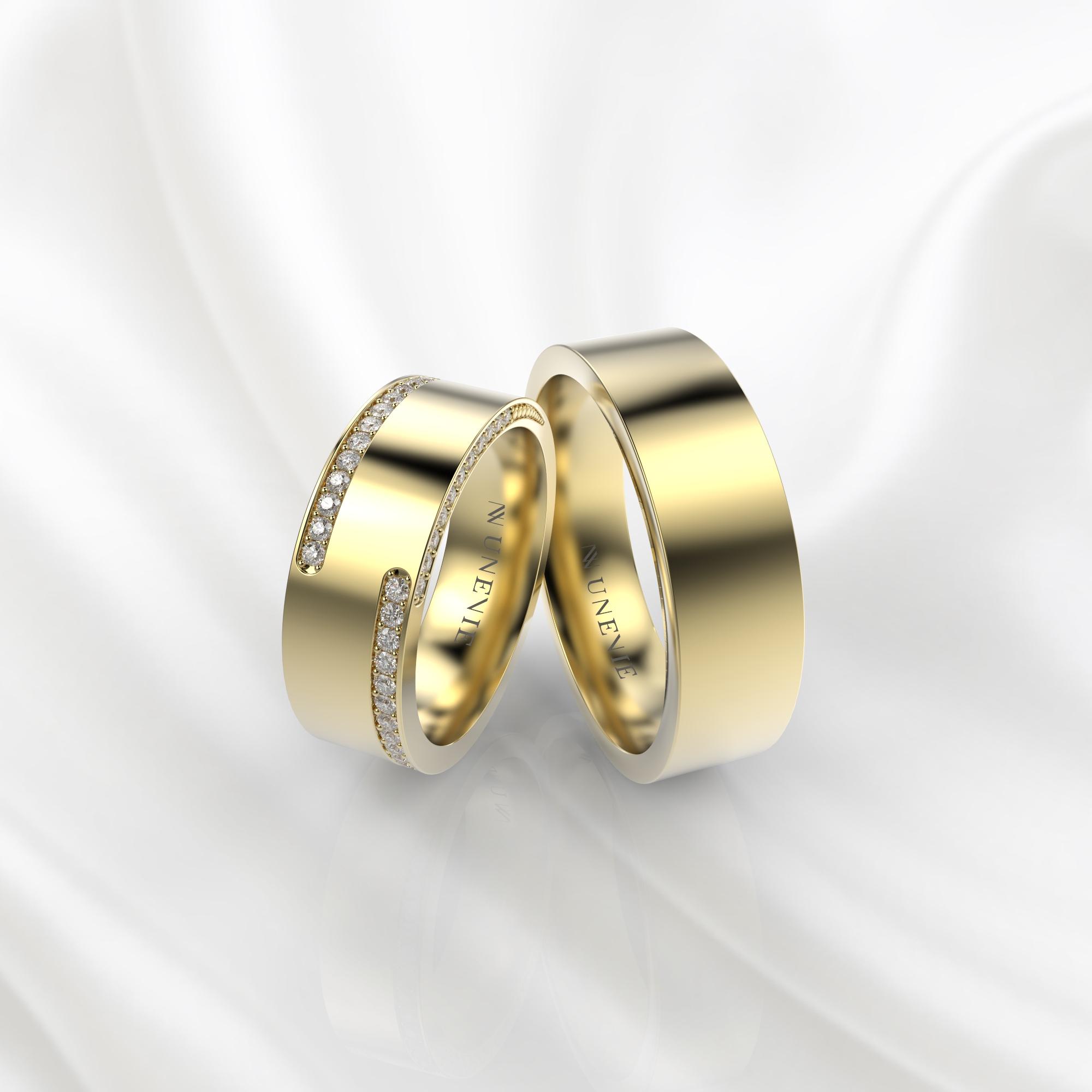 NV63 Парные обручальные кольца из желтого золота с бриллиантами