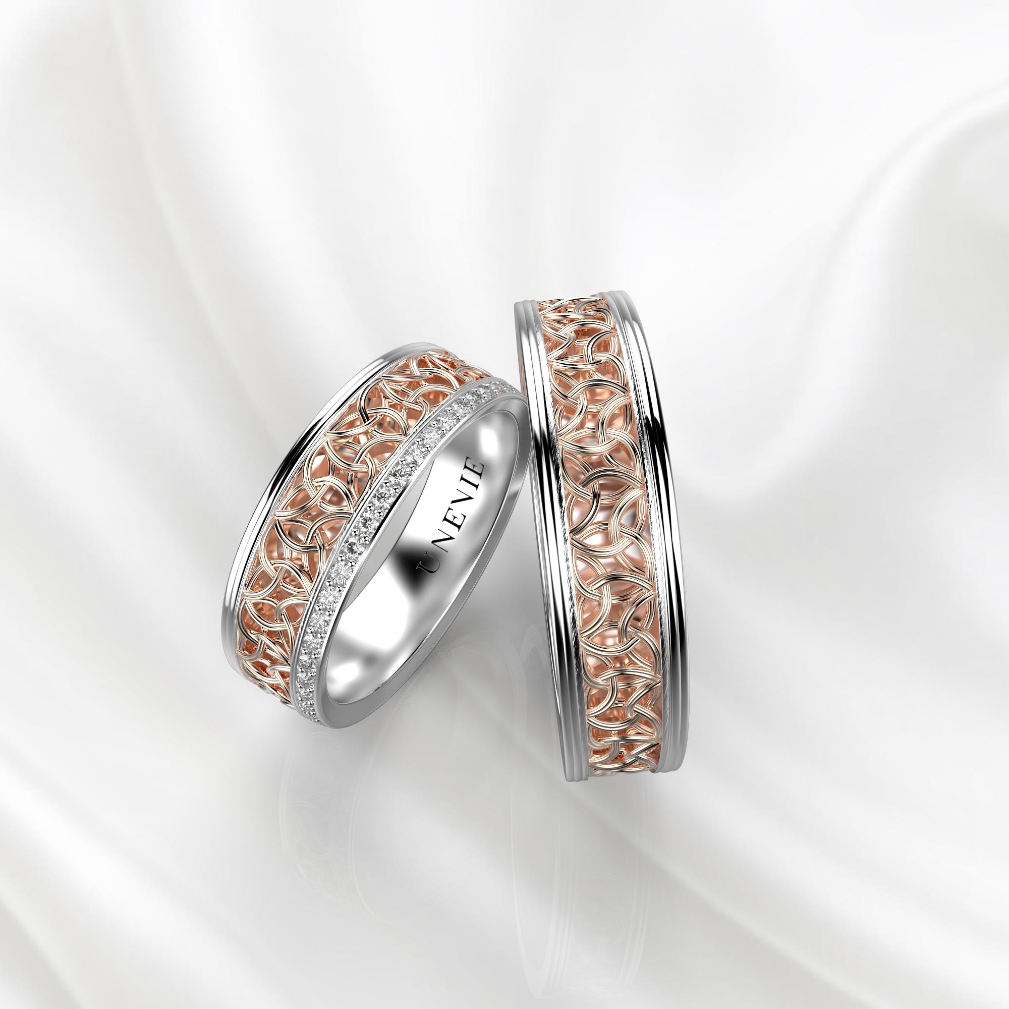 NV64 Парные обручальные кольца из бело-розового золота с бриллиантами