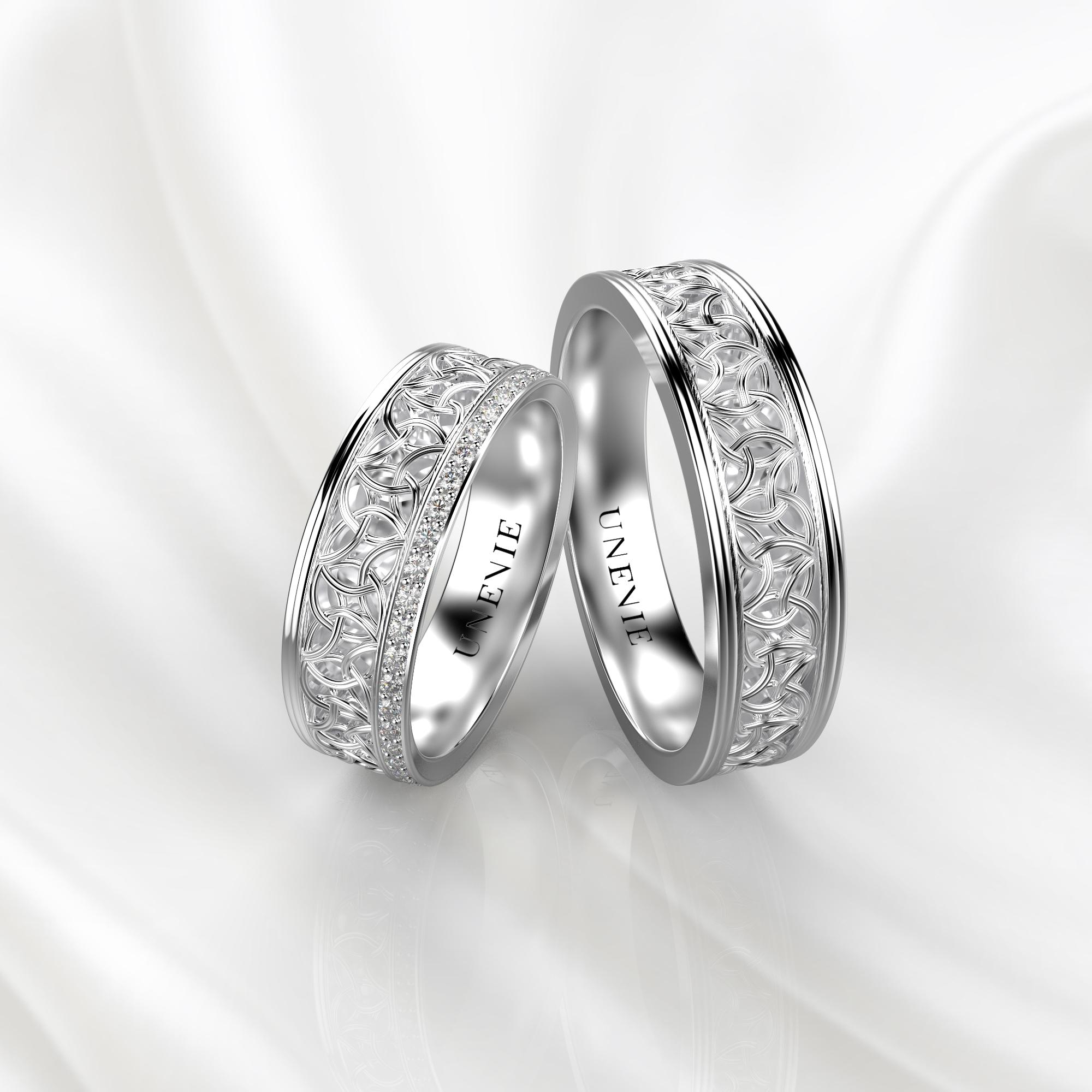 NV63 Парные обручальные кольца из белого золота с бриллиантами