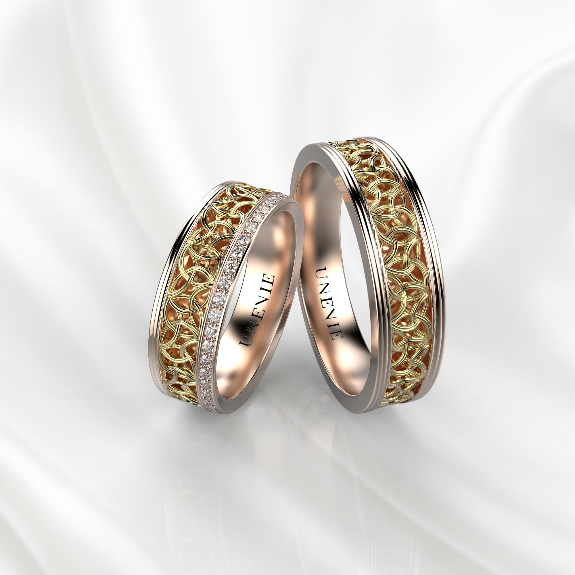 NV64 Парные обручальные кольца из розово-желтого золота с бриллиантами